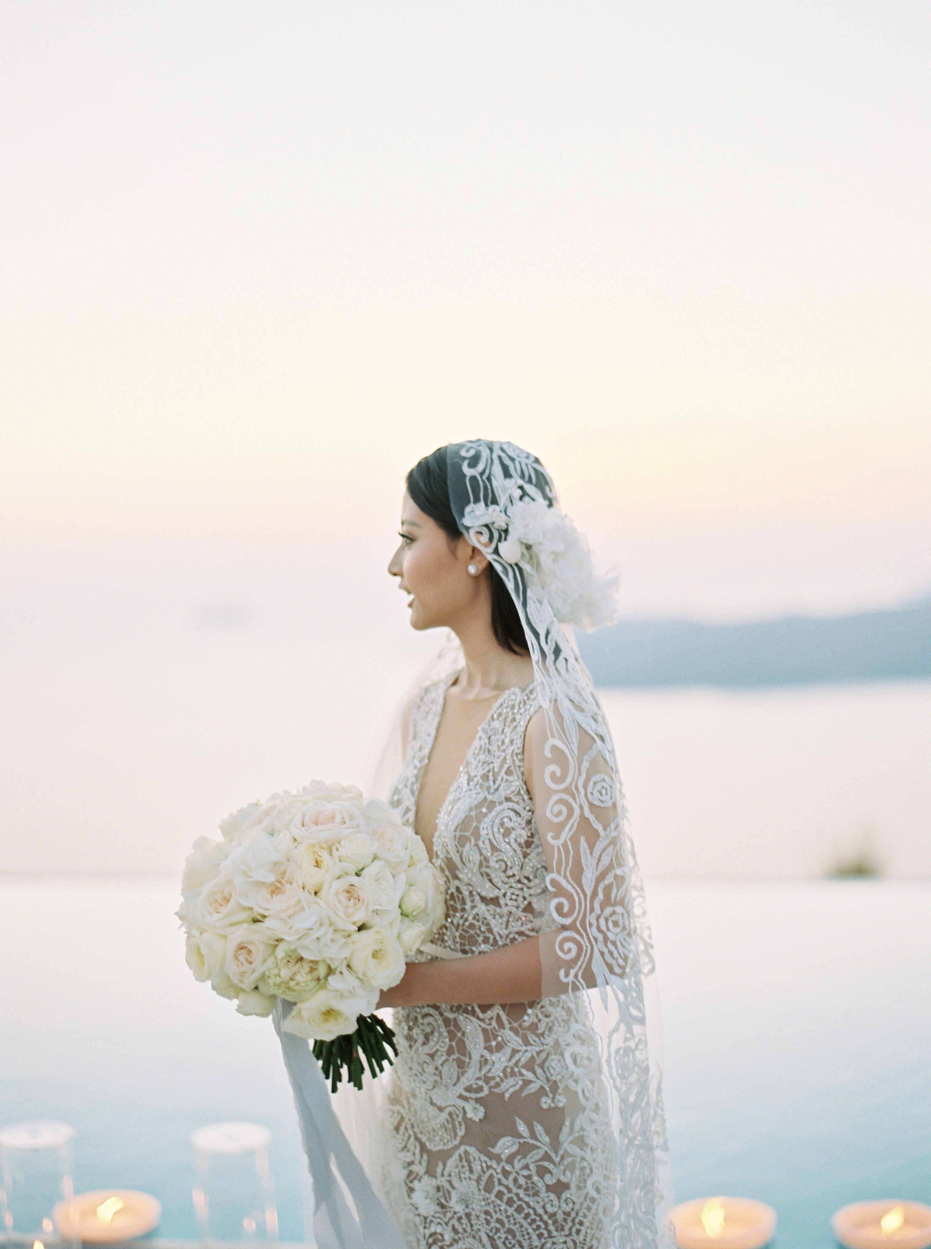 angie prayogo greece wedding bouquet flowers bride