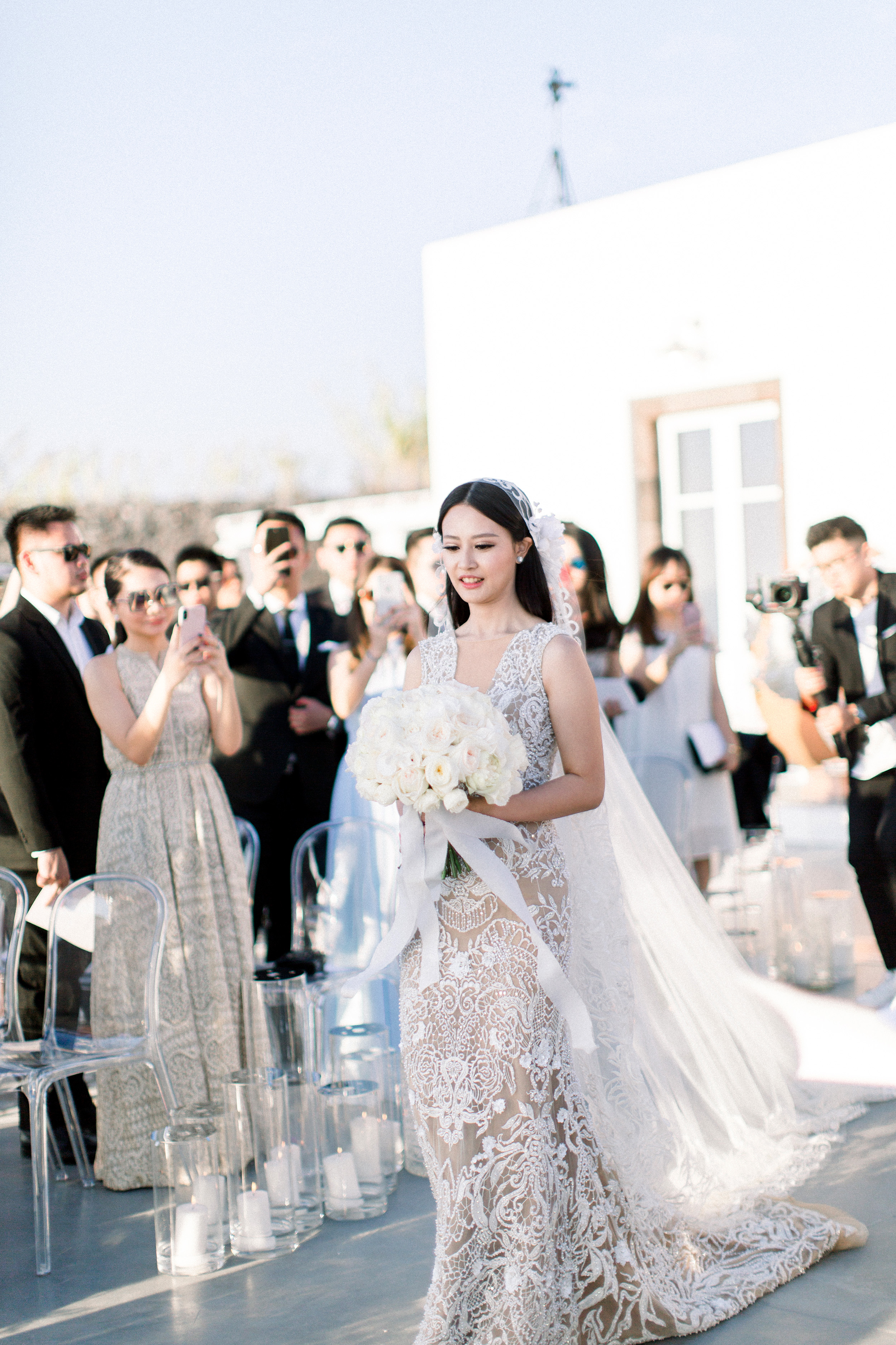 angie prayogo greece wedding processional bride