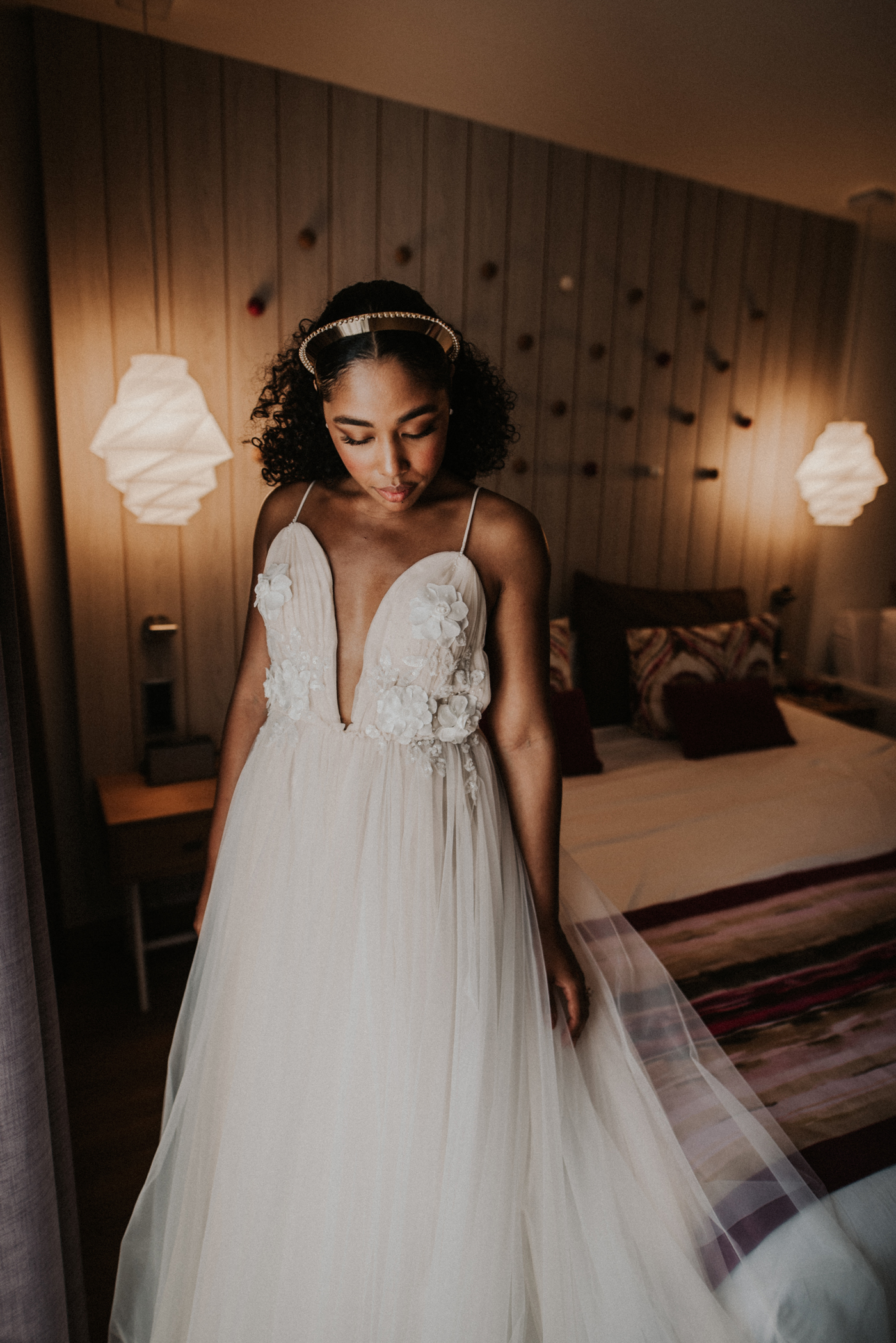 bride wearing custom champagne and ivory tulle gown