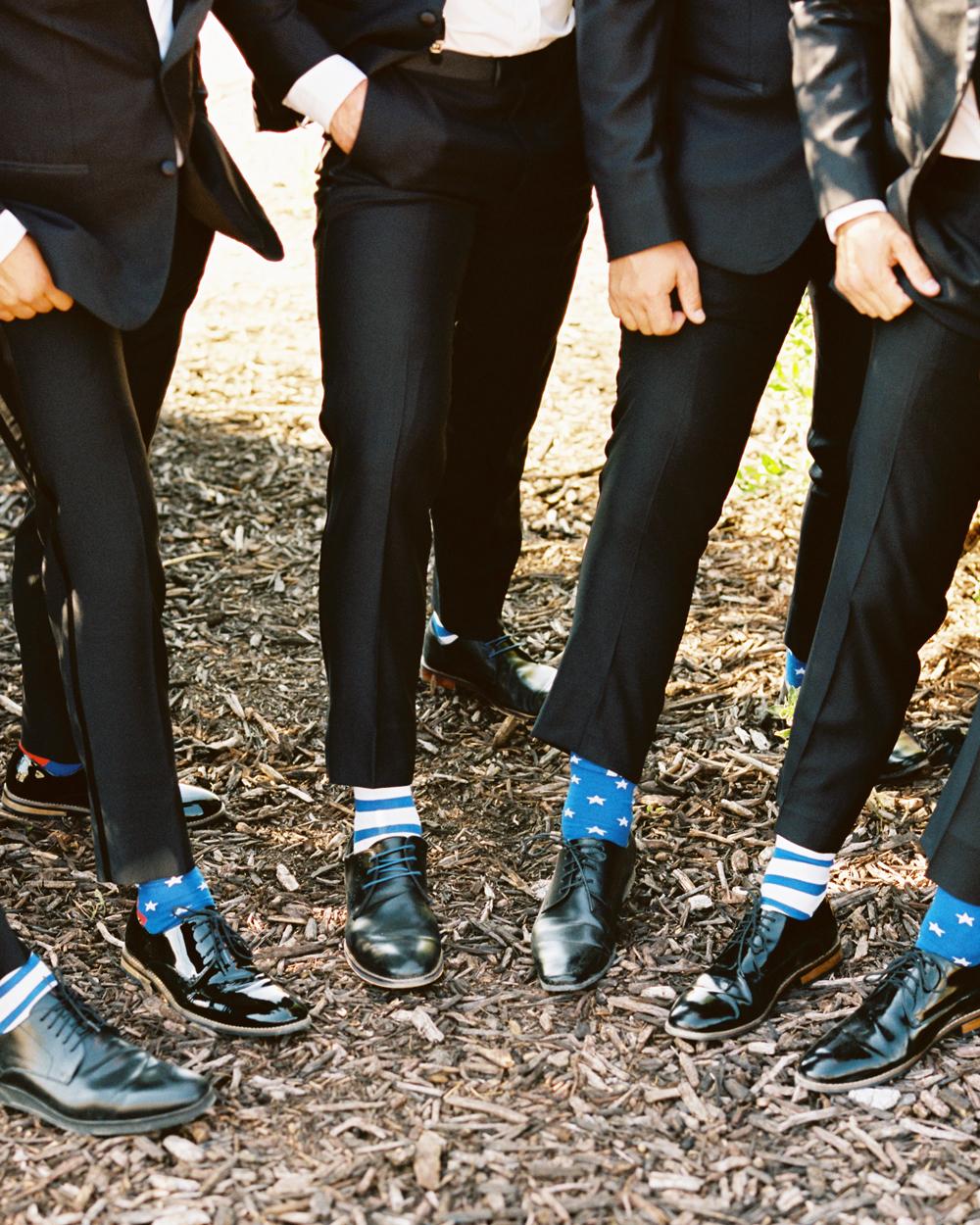 groomsmen in American flag wedding socks