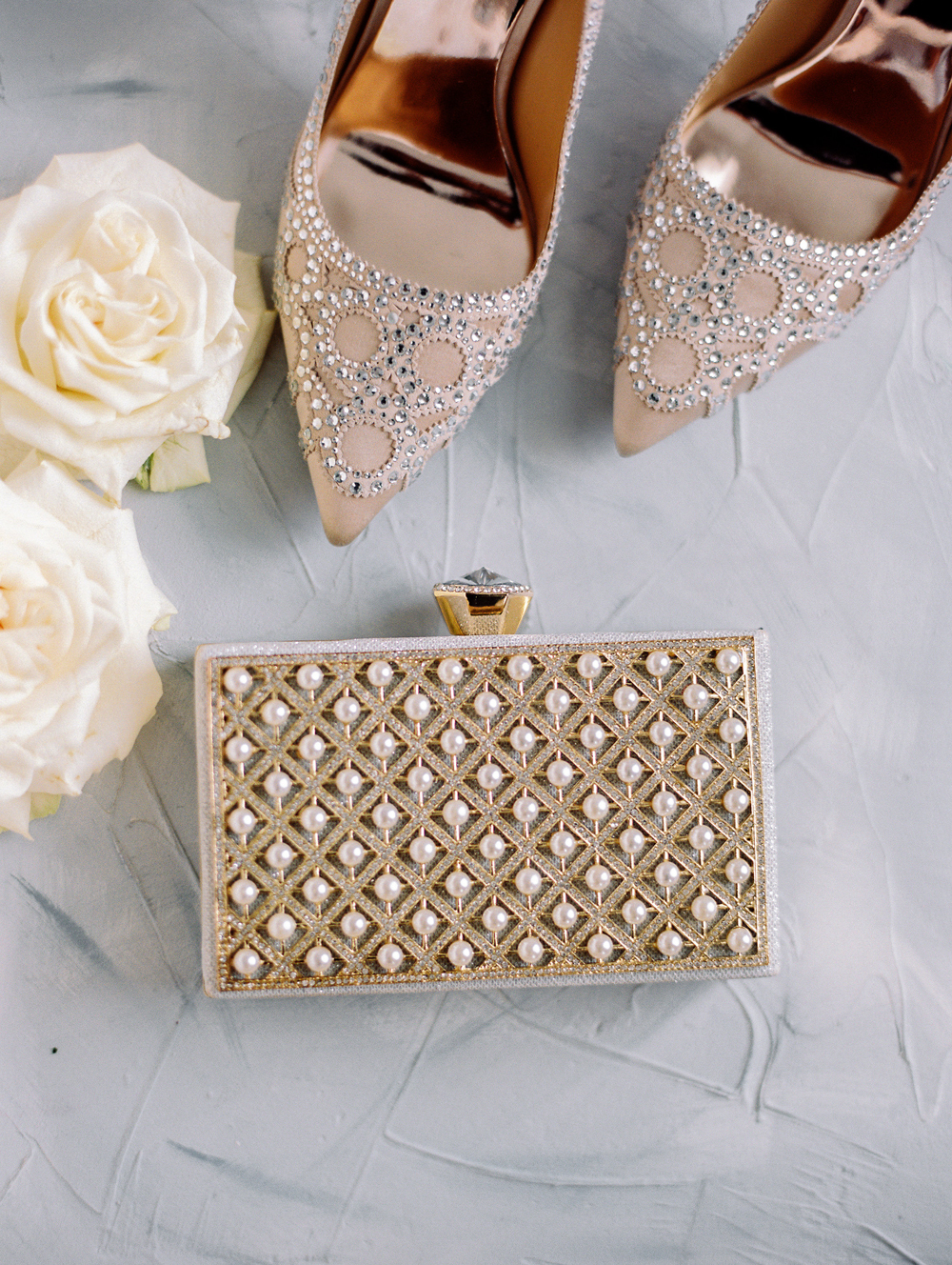 toffee toned crystal pumps with pearl embellished clutch