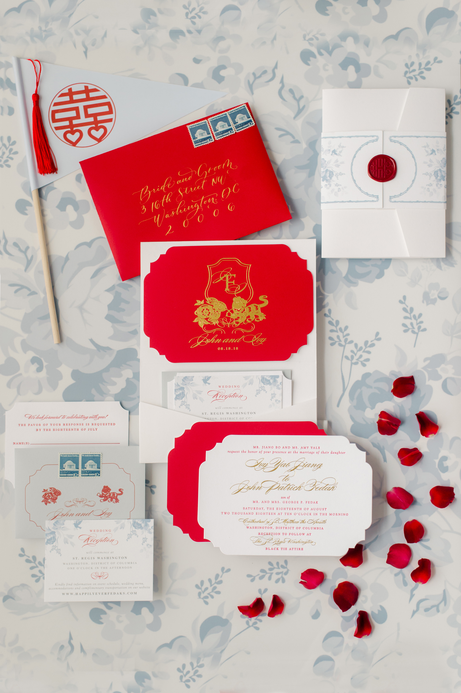 red and white stationary with gold writing