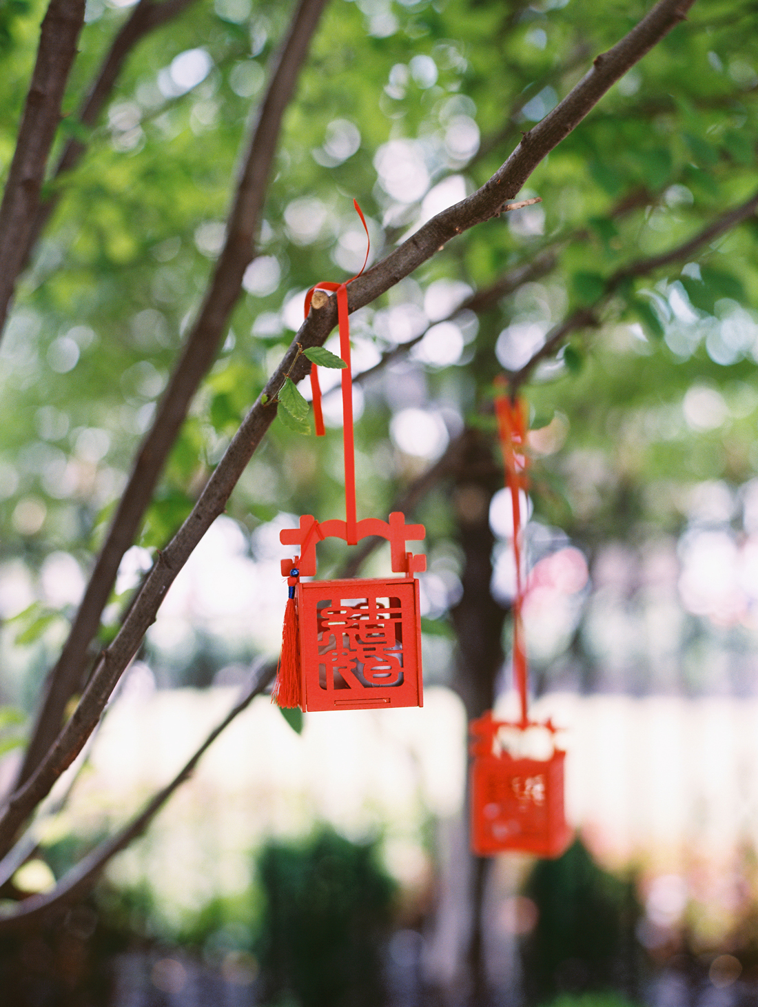 hanging red wooden lanterns