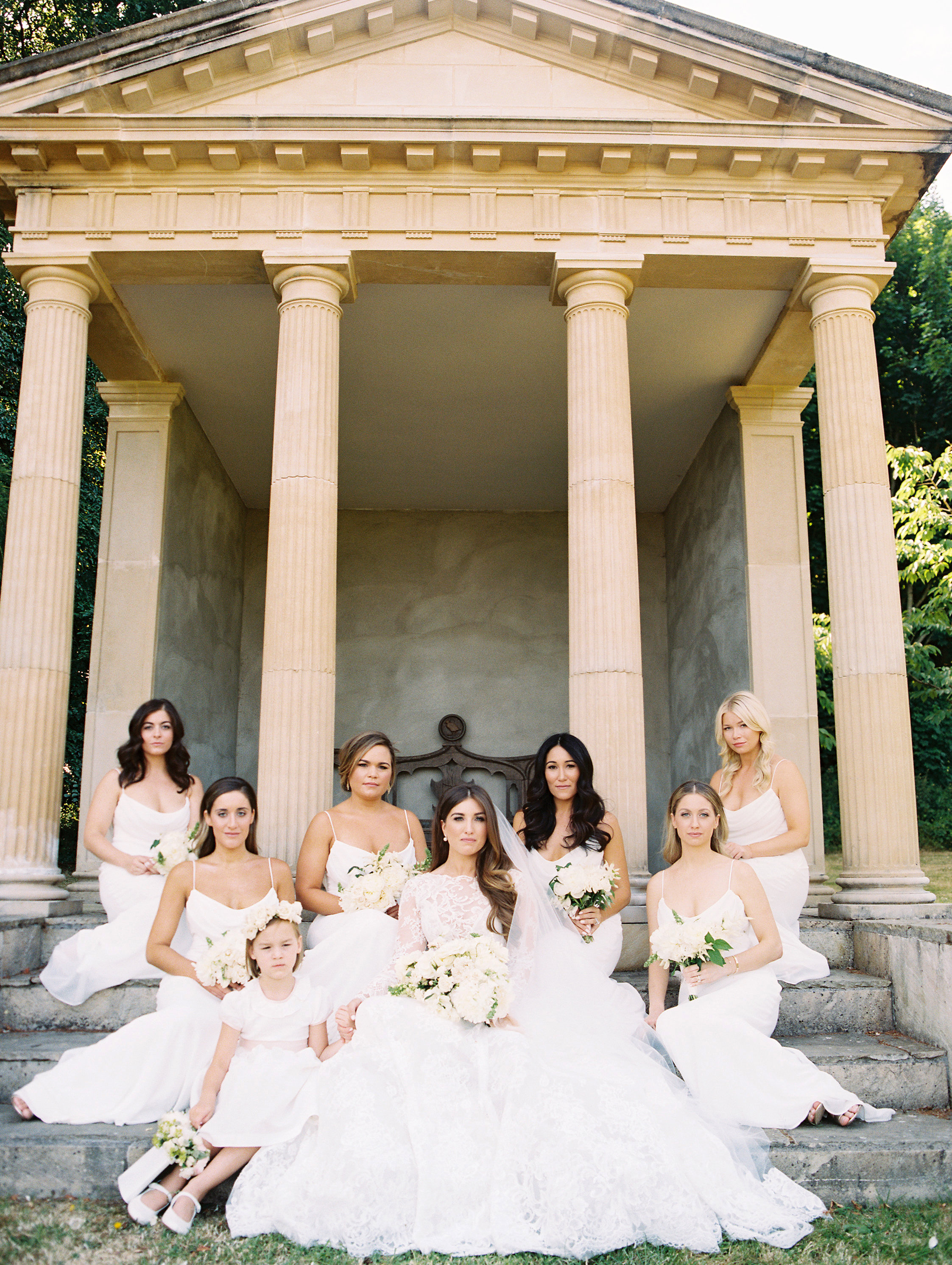 ramsey charles ireland wedding bridesmaids and bride on steps