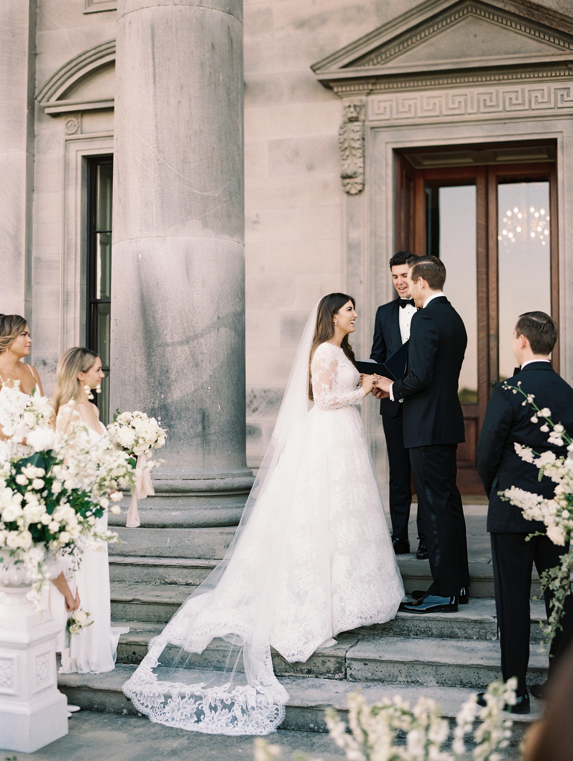 ramsey charles ireland wedding ceremony bride and groom on steps