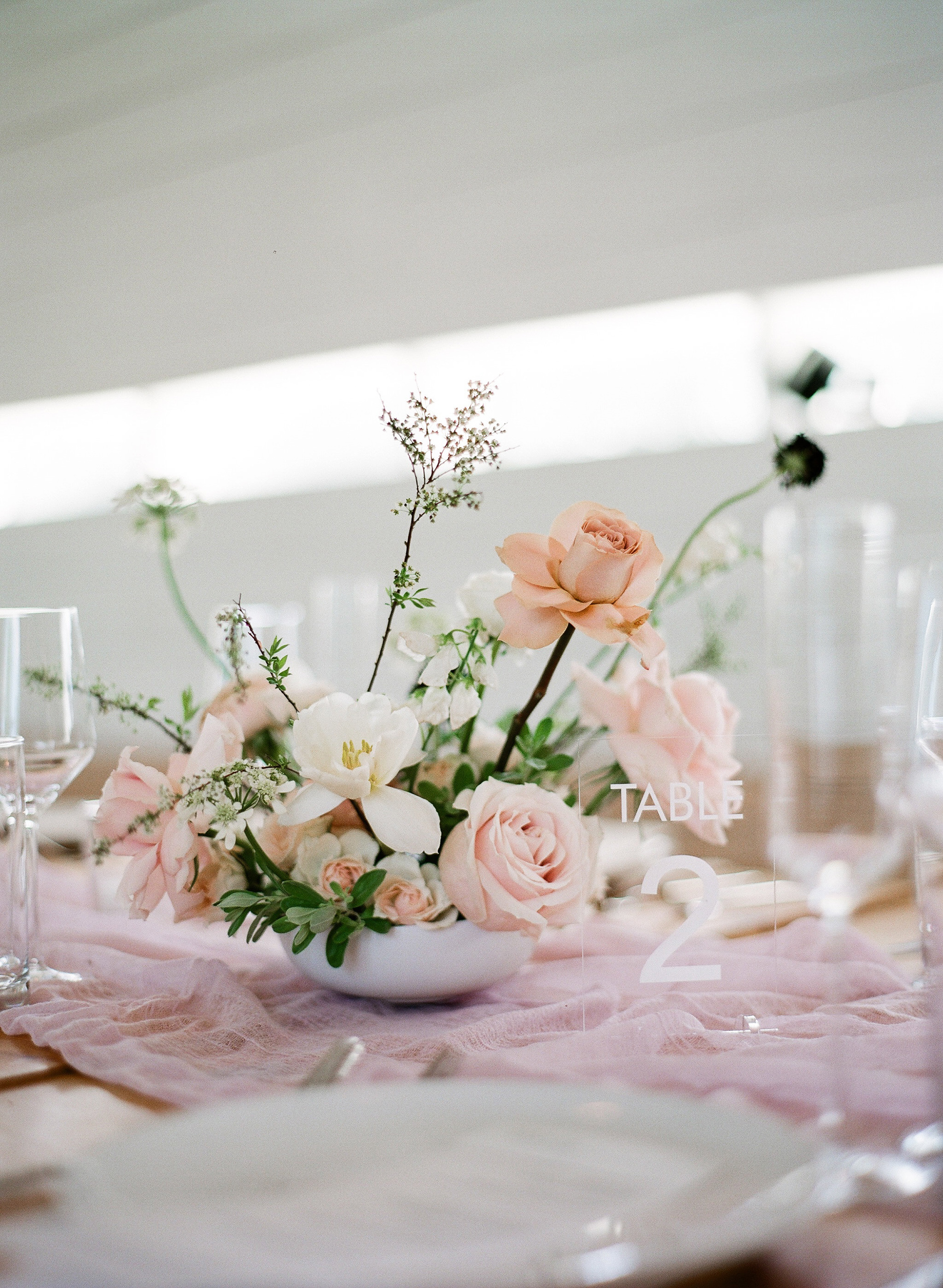 brittany peter wedding centerpiece pink flowers