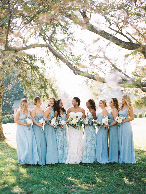 wedding bride and bridesmaids light blue dresses