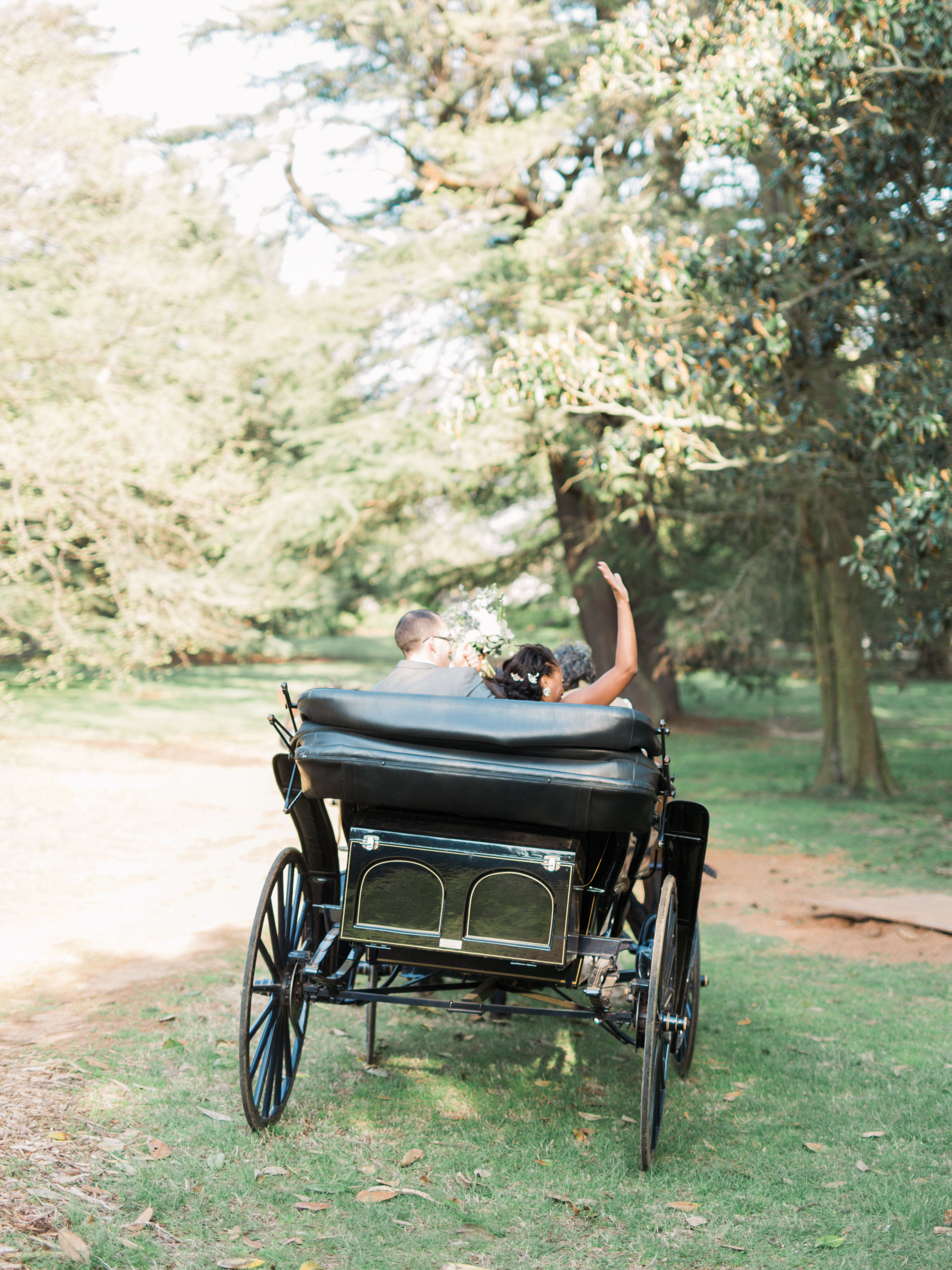 wedding carriage bride and groom riding outdoors