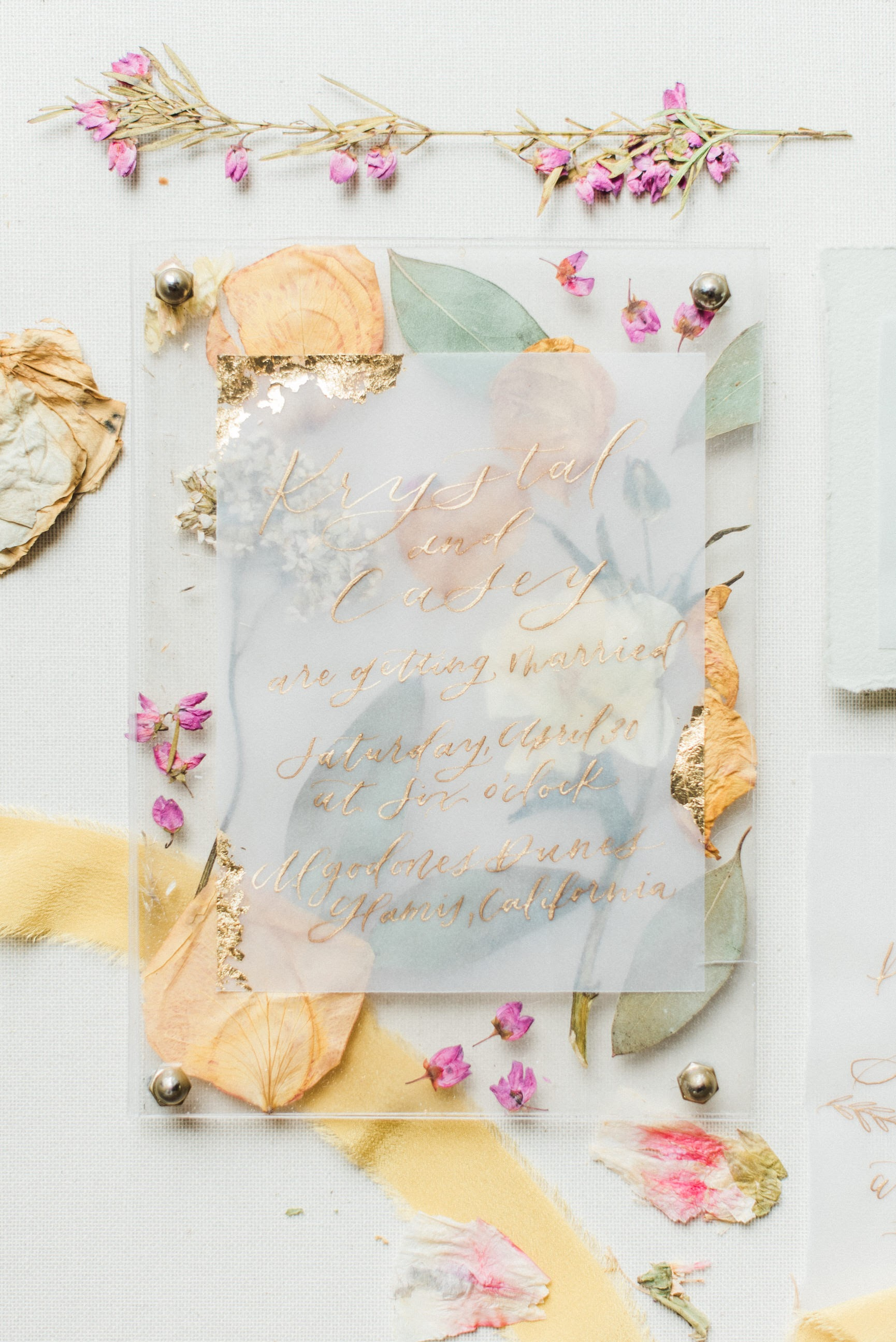 pressed flower wedding invites