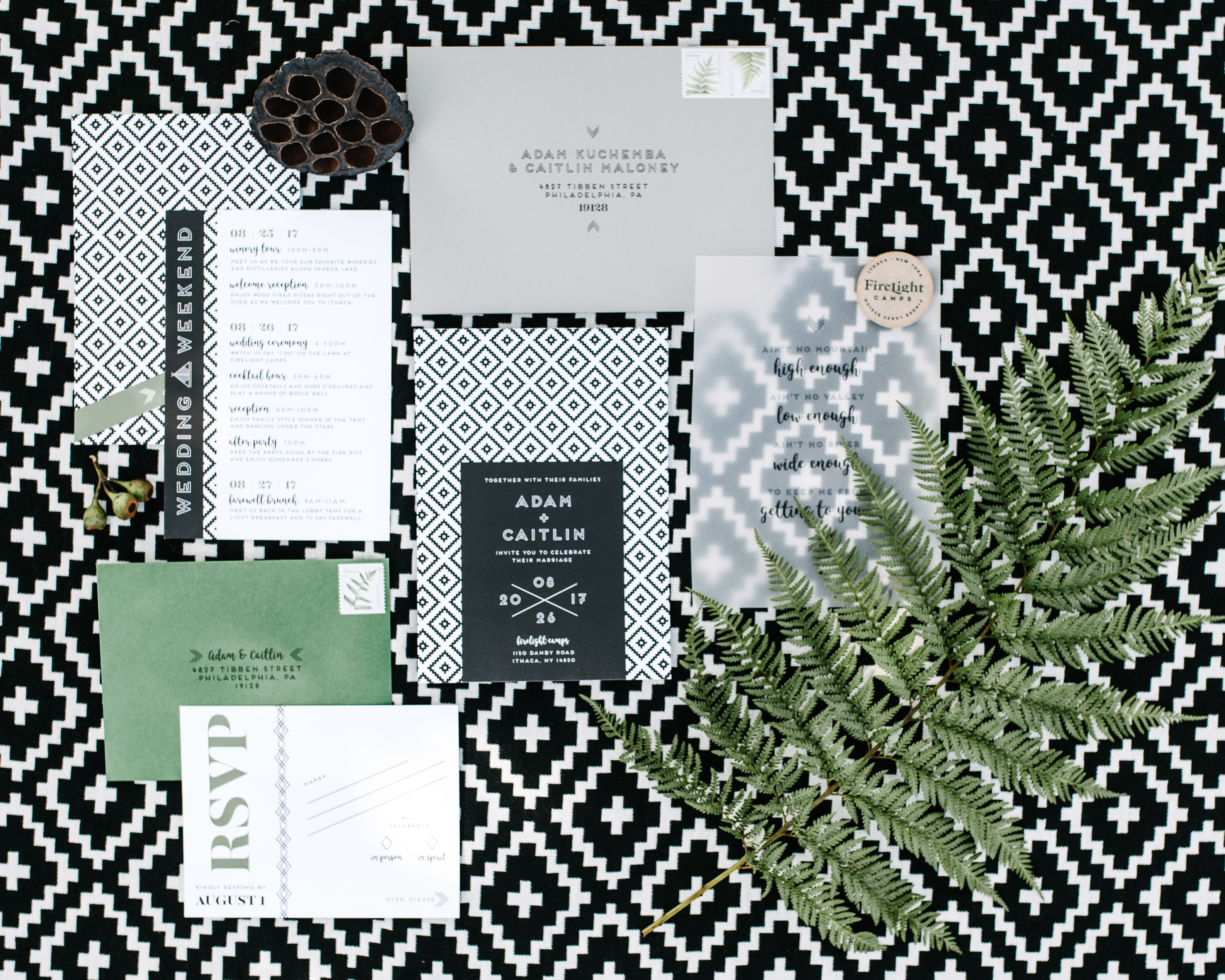black white and green wedding stationery