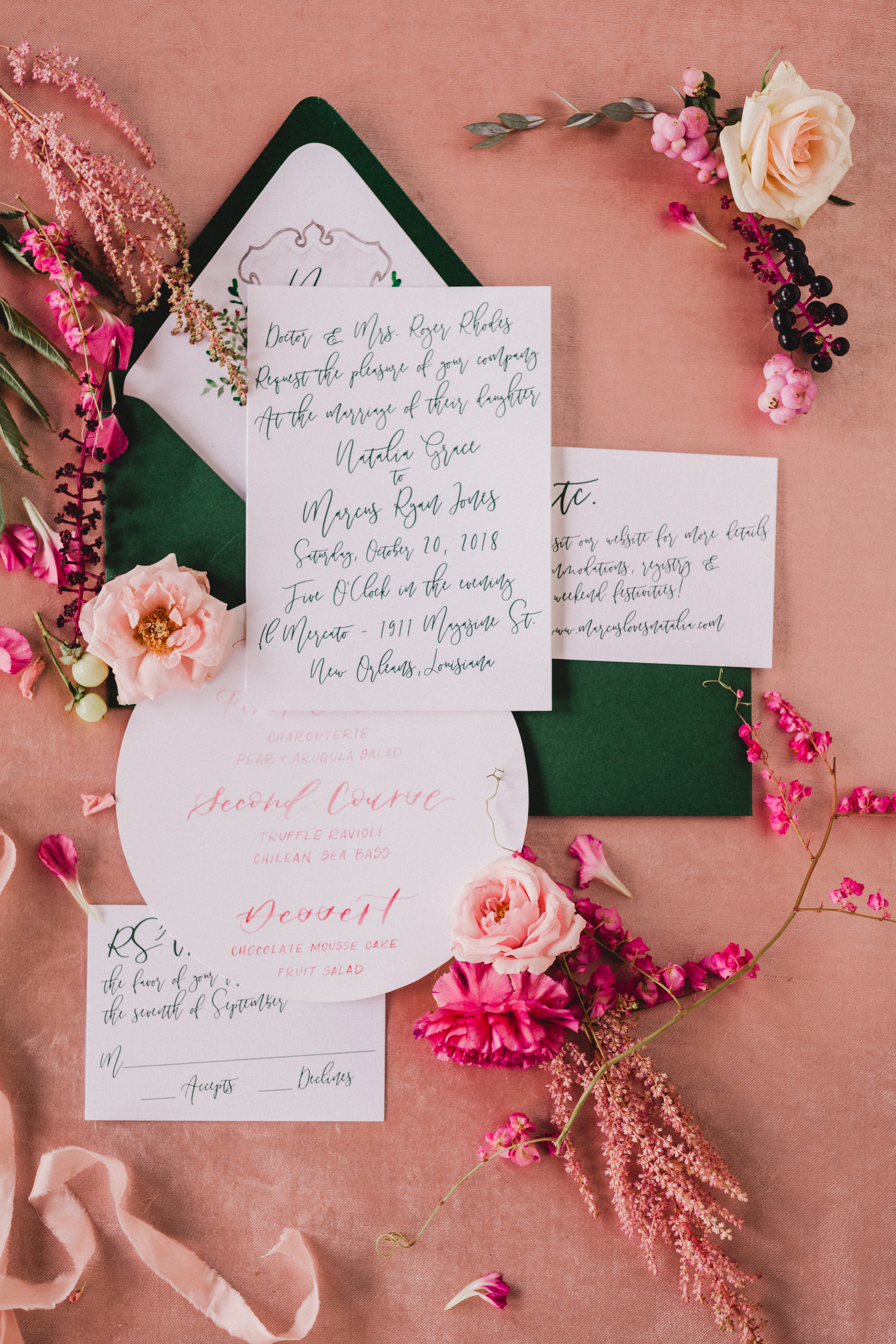 green and pink wedding stationery