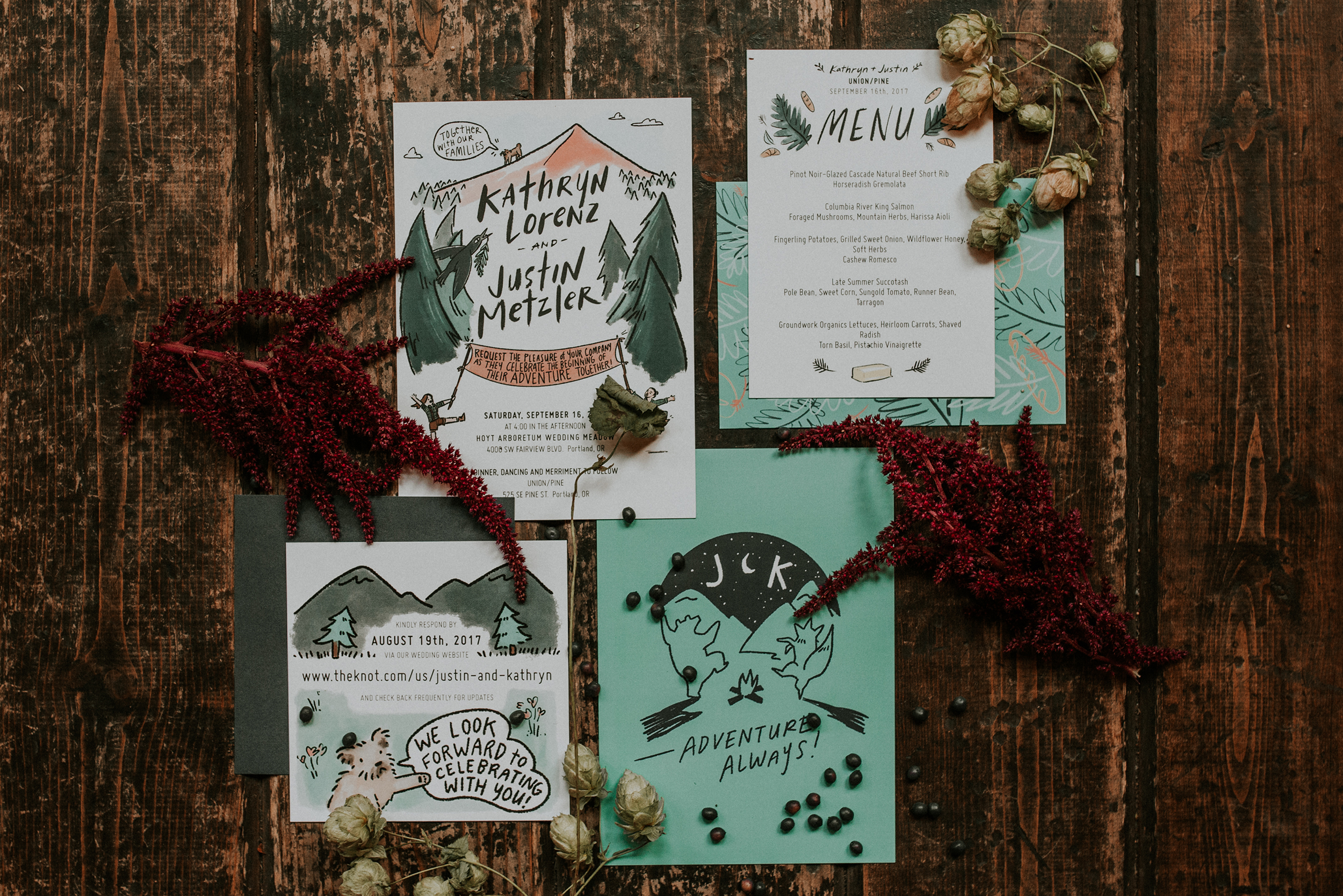 graphic green invitation suite