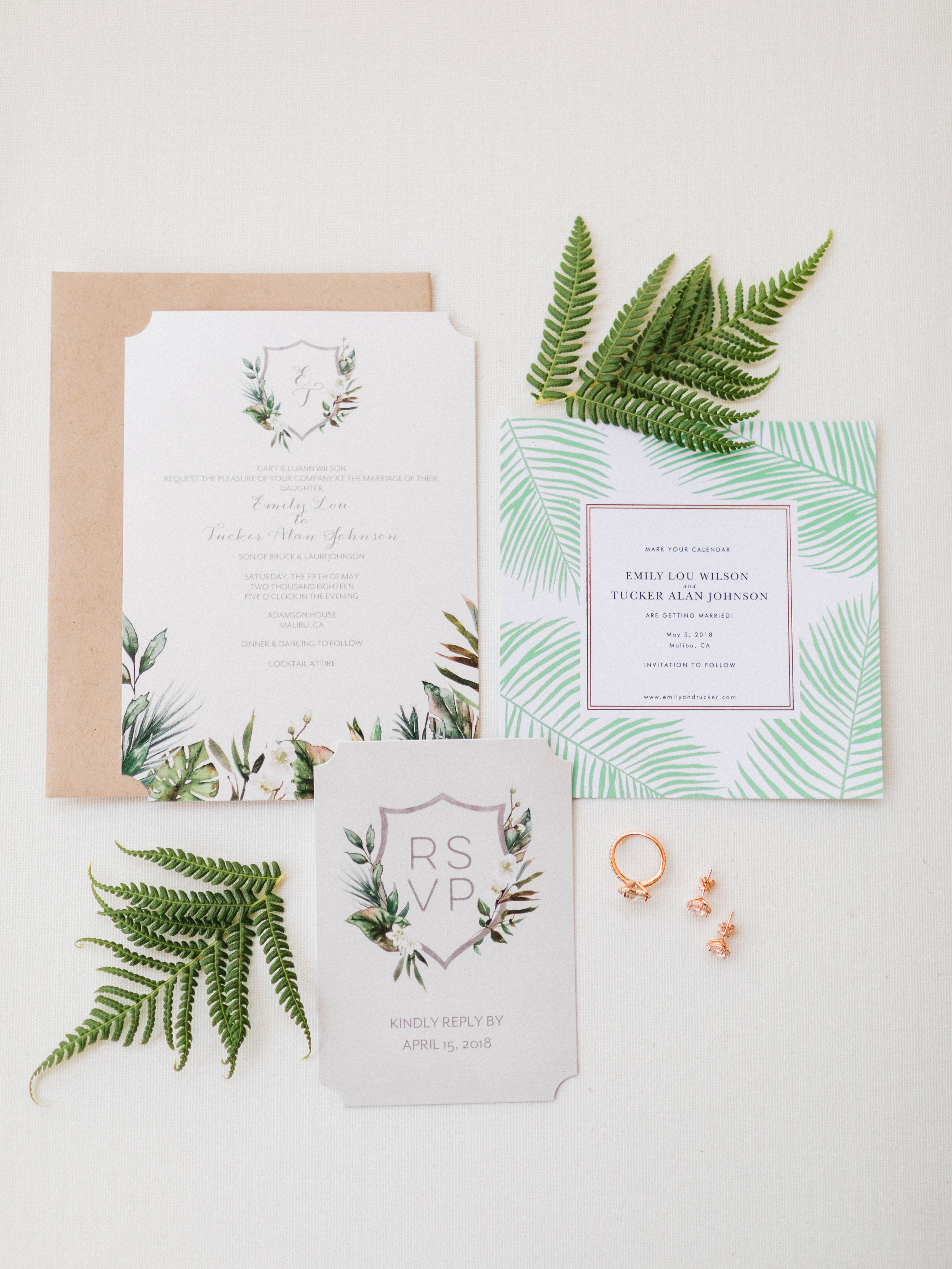 tropical leaf invitation suite