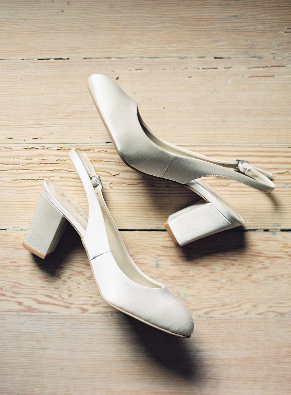 vintage inspired ivory silk slingback heels