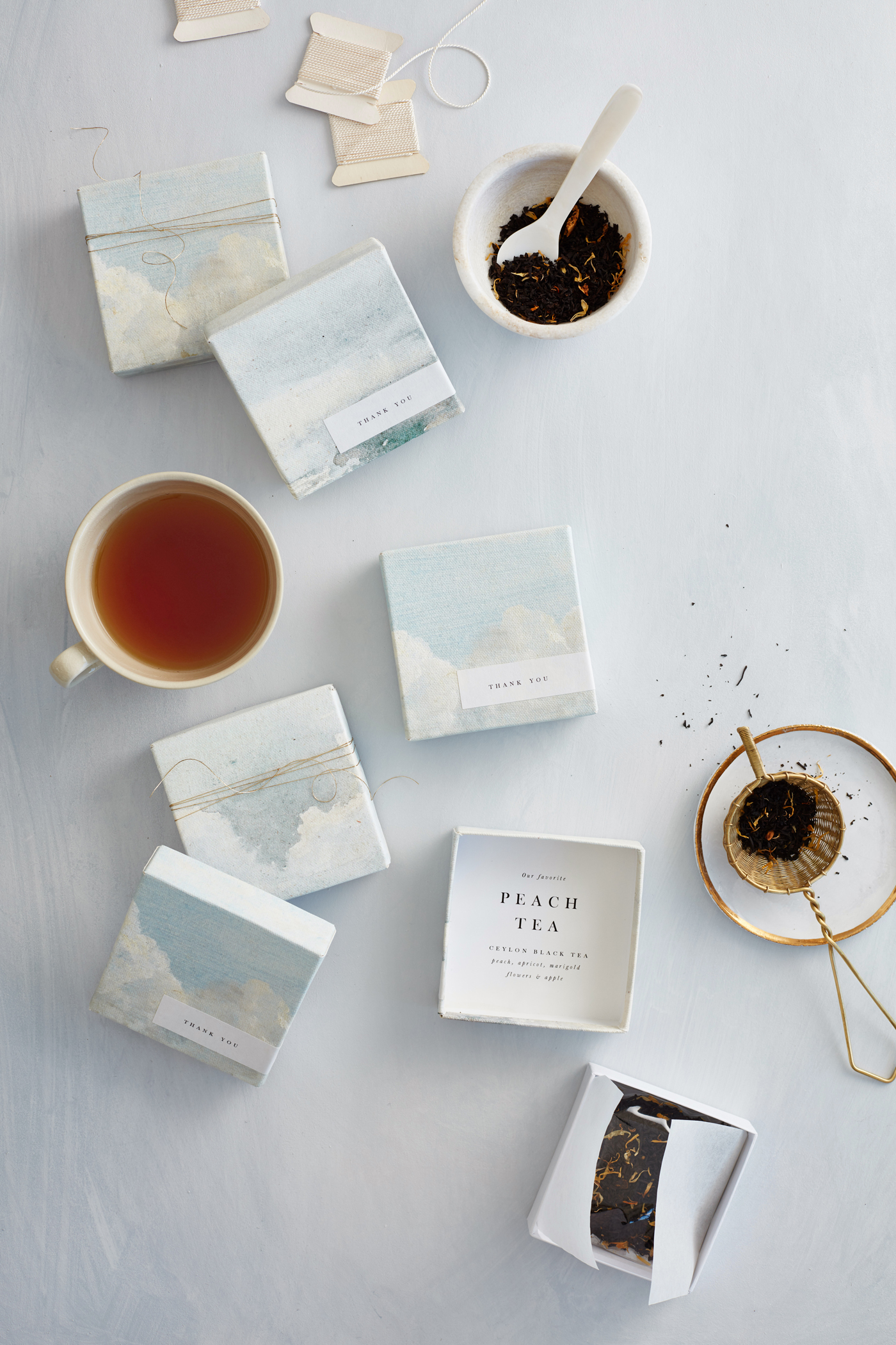 custom petite boxes with landscape canvas print filled with loose leaf tea