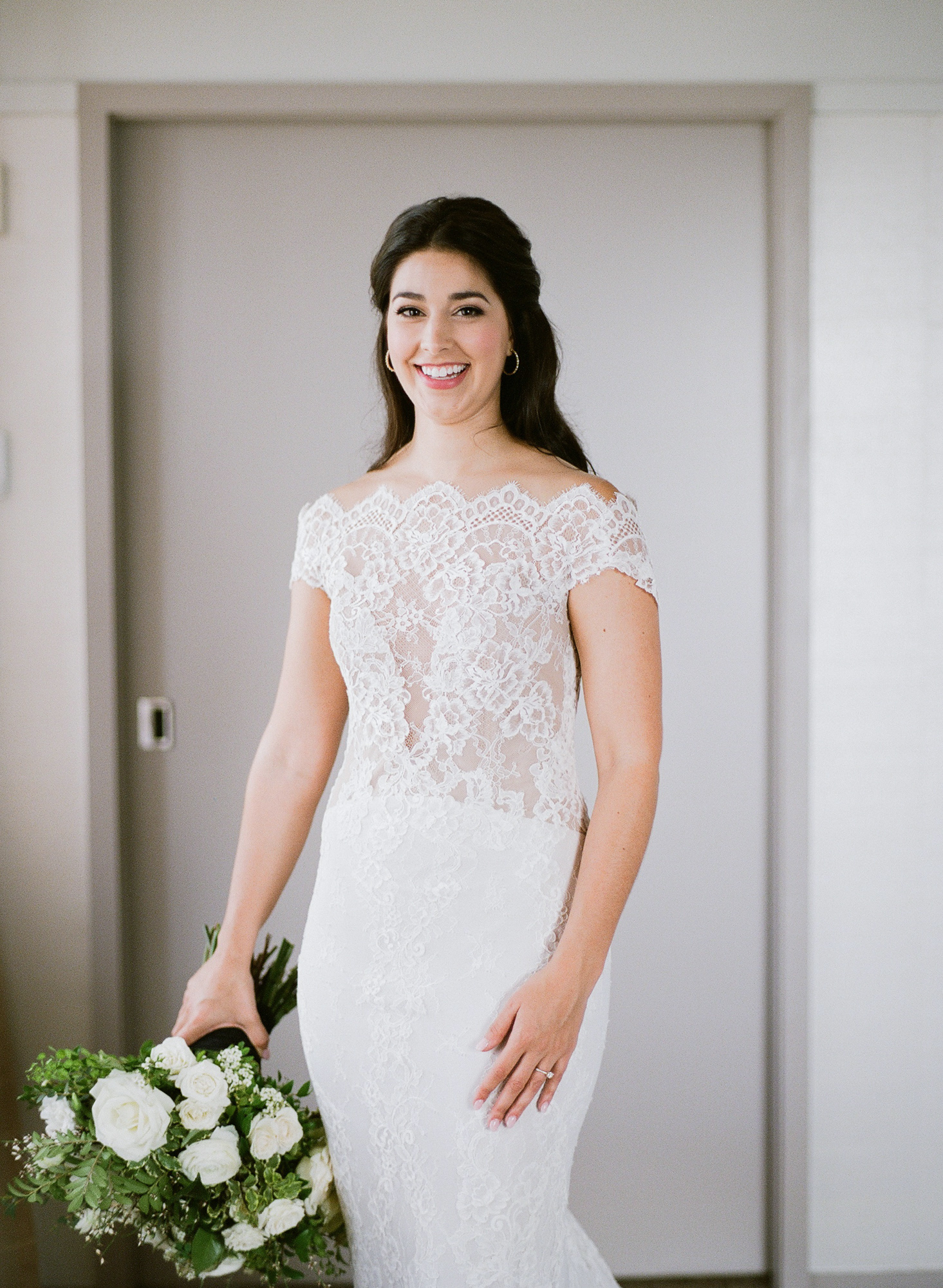 bride lace-adorned sleeveless off the shoulder dress