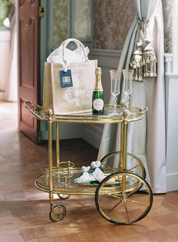 janet patrick wedding welcome bag on cart