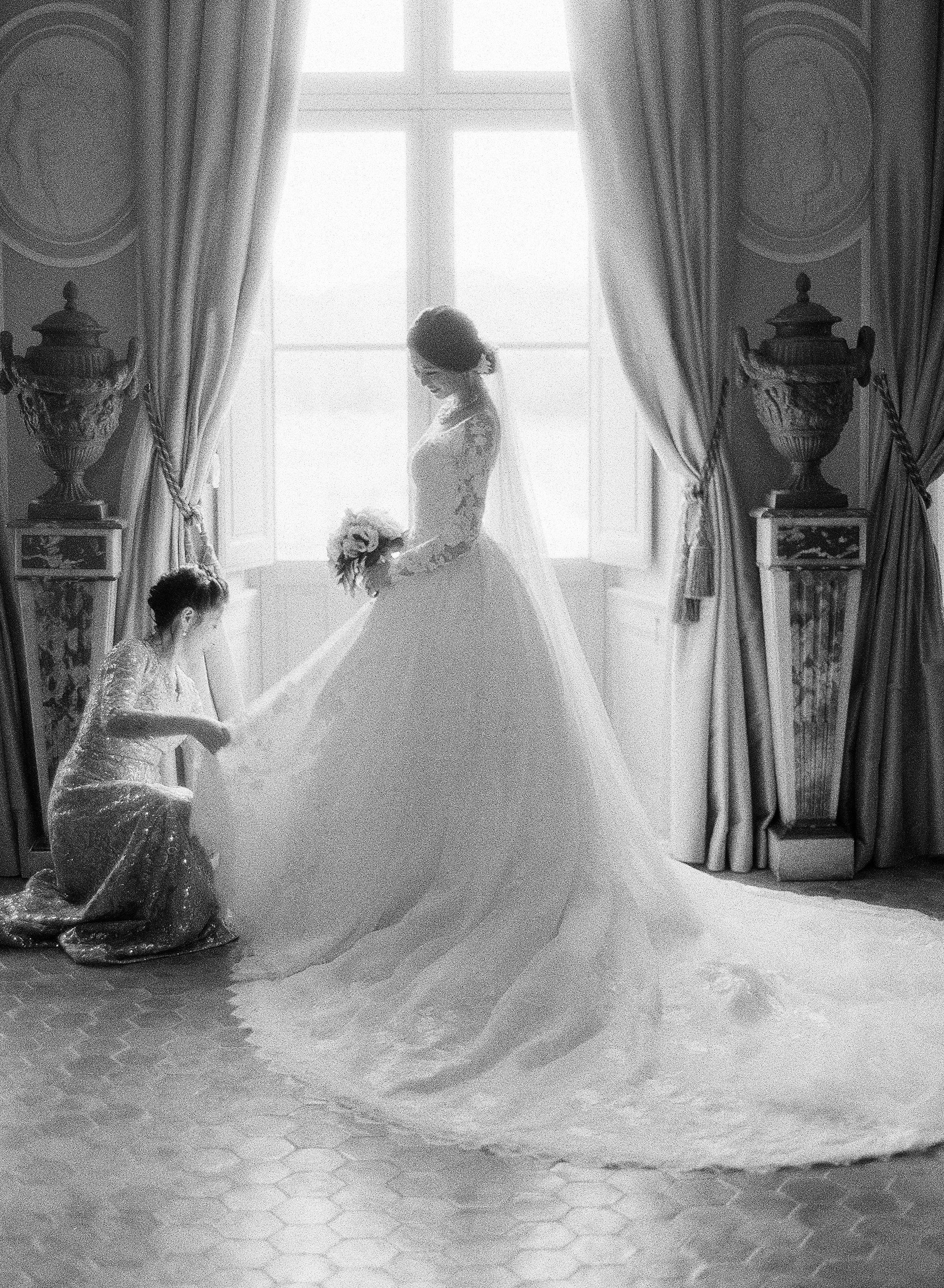 janet patrick wedding bride getting ready in front of window