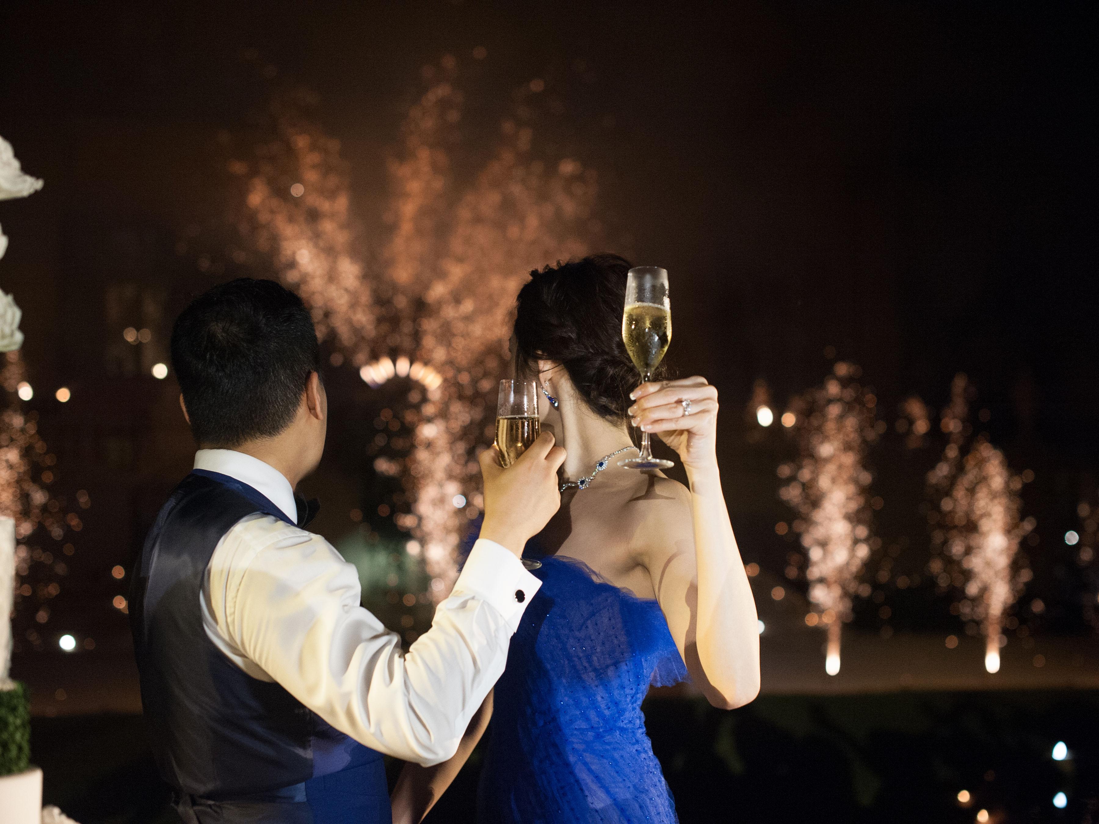 janet patrick wedding fireworks couple
