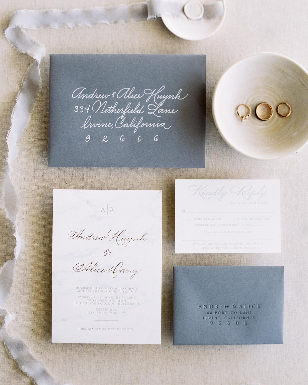 wedding invitation spread with wedding bands