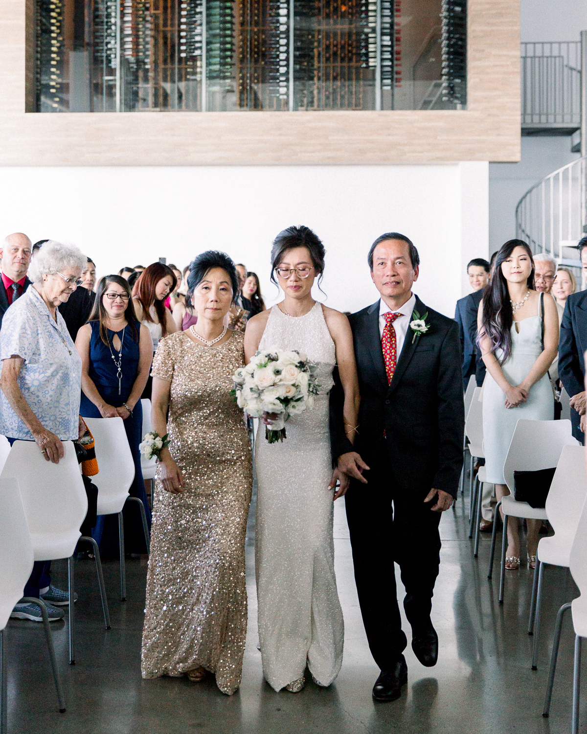 wedding processional bride walk-in with parents
