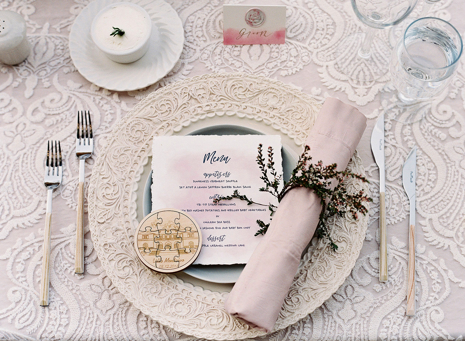 yiran yexiang wedding place setting menu napkin