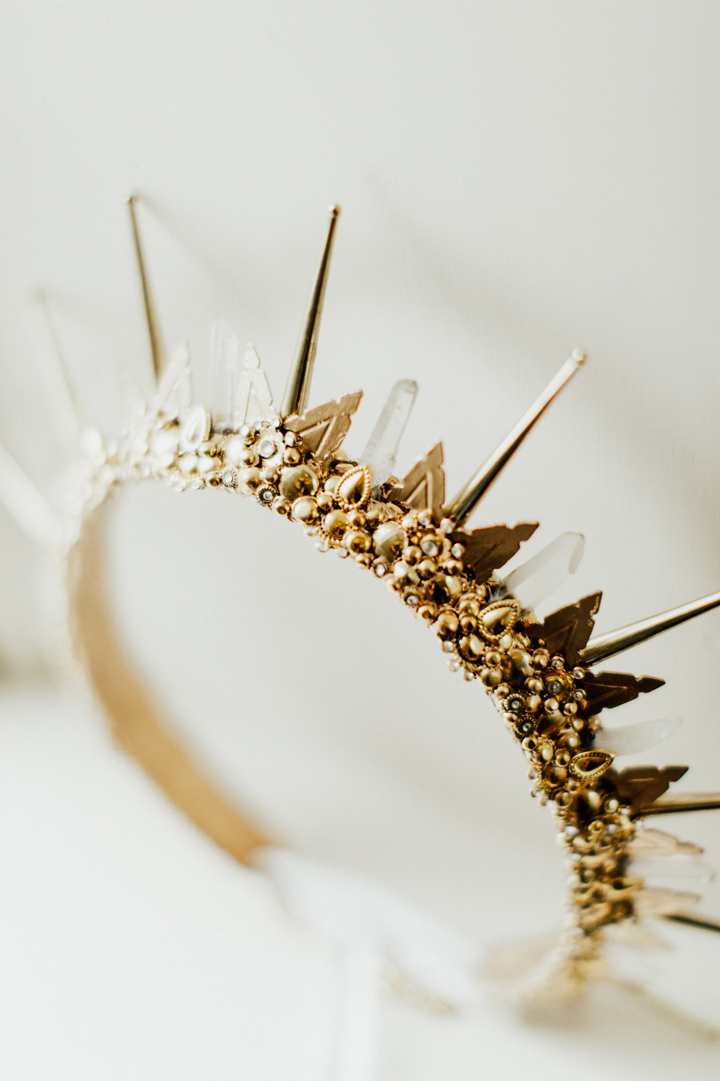 custom made gold and crystal crown bridal accessory