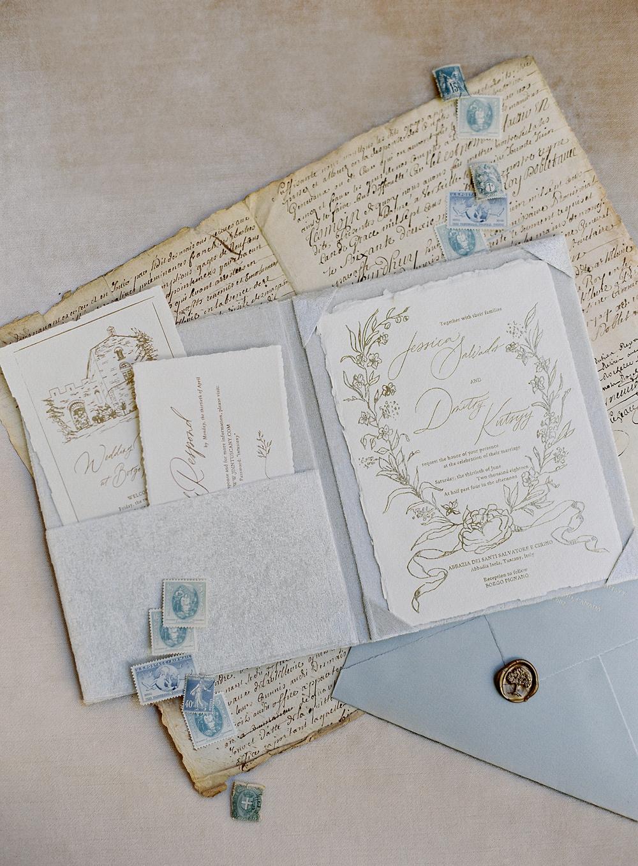 handmade paper, foil printing, custom illustration invitation suit