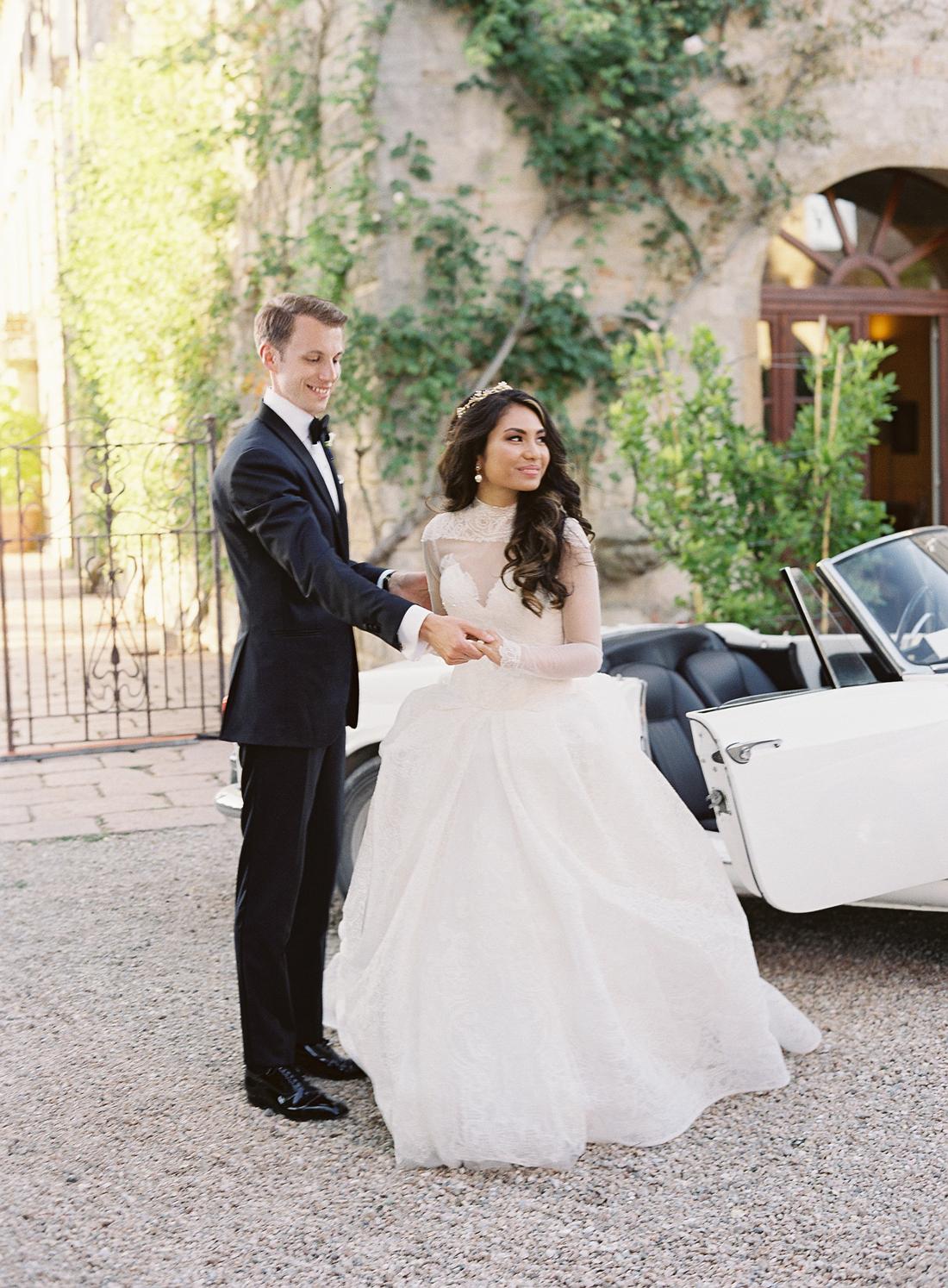 high neck ivory macrame lace draped ball gown wedding dress