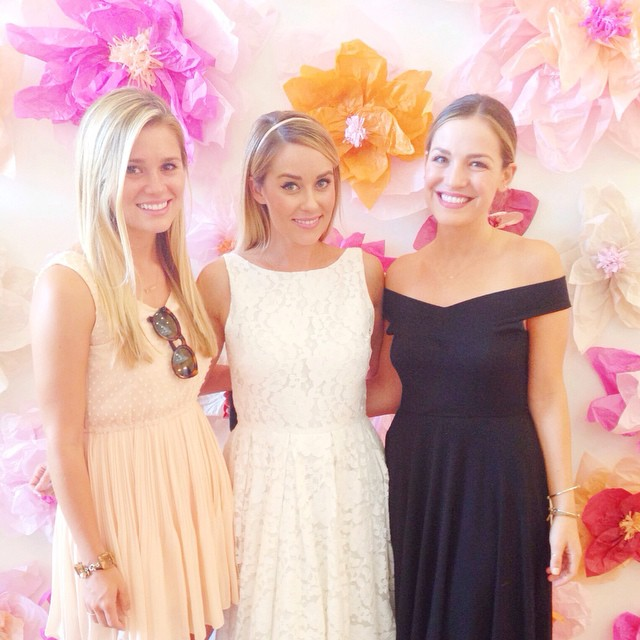 lauren conrad bridal shower flower wall