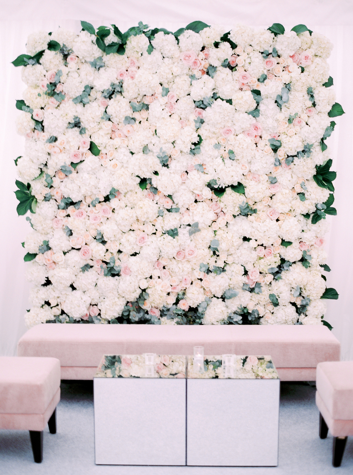 wedding plant wall pink and white hydrangeas