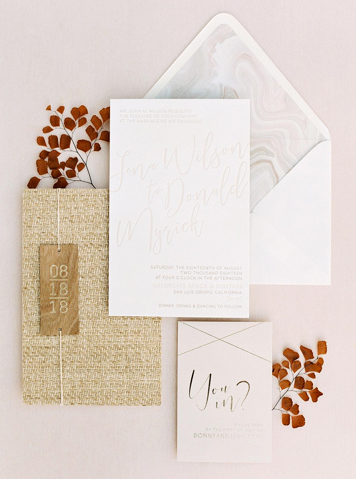jena donny wedding invitation stationary suite