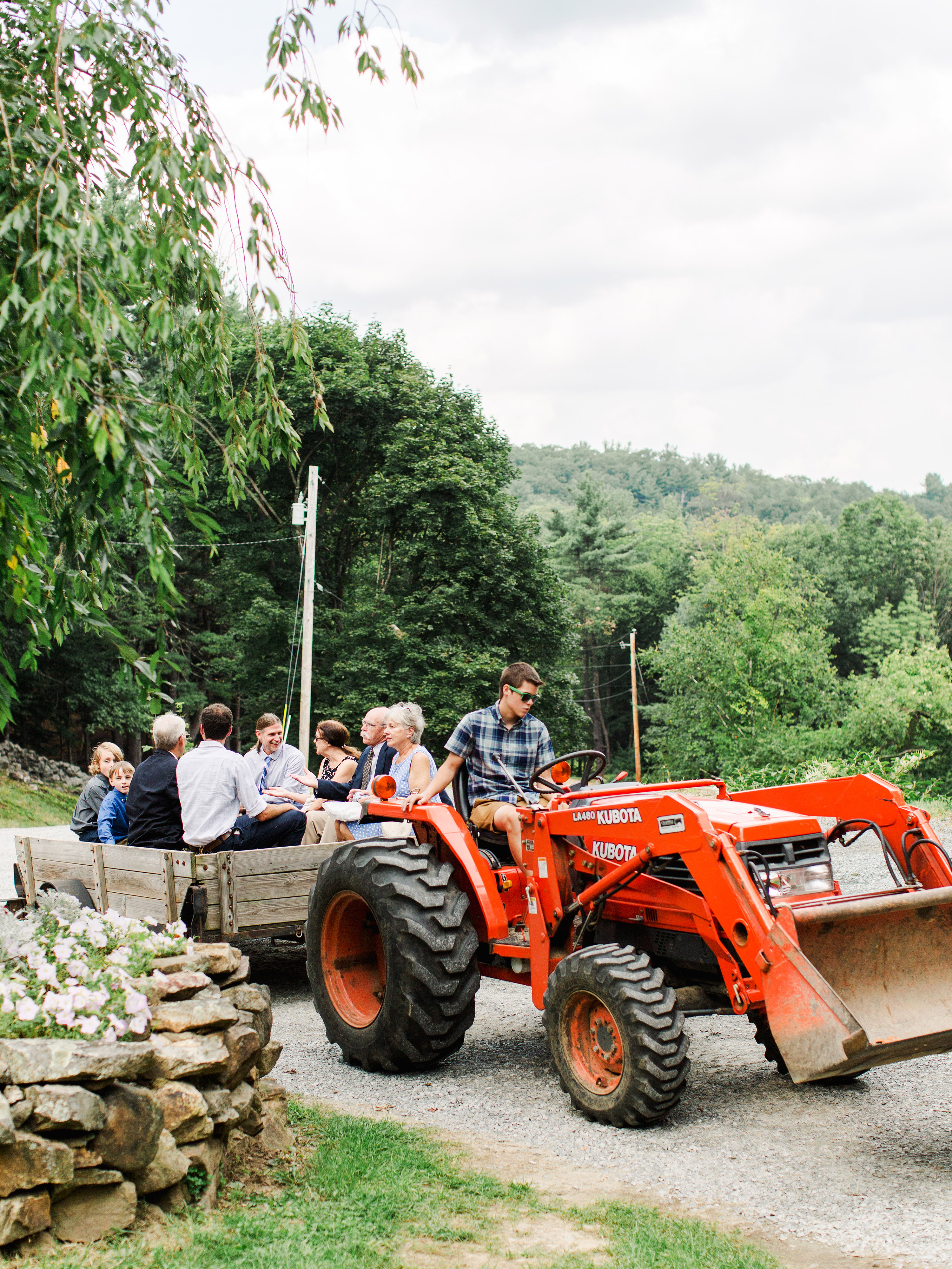dayane collin wedding hay ride tractor