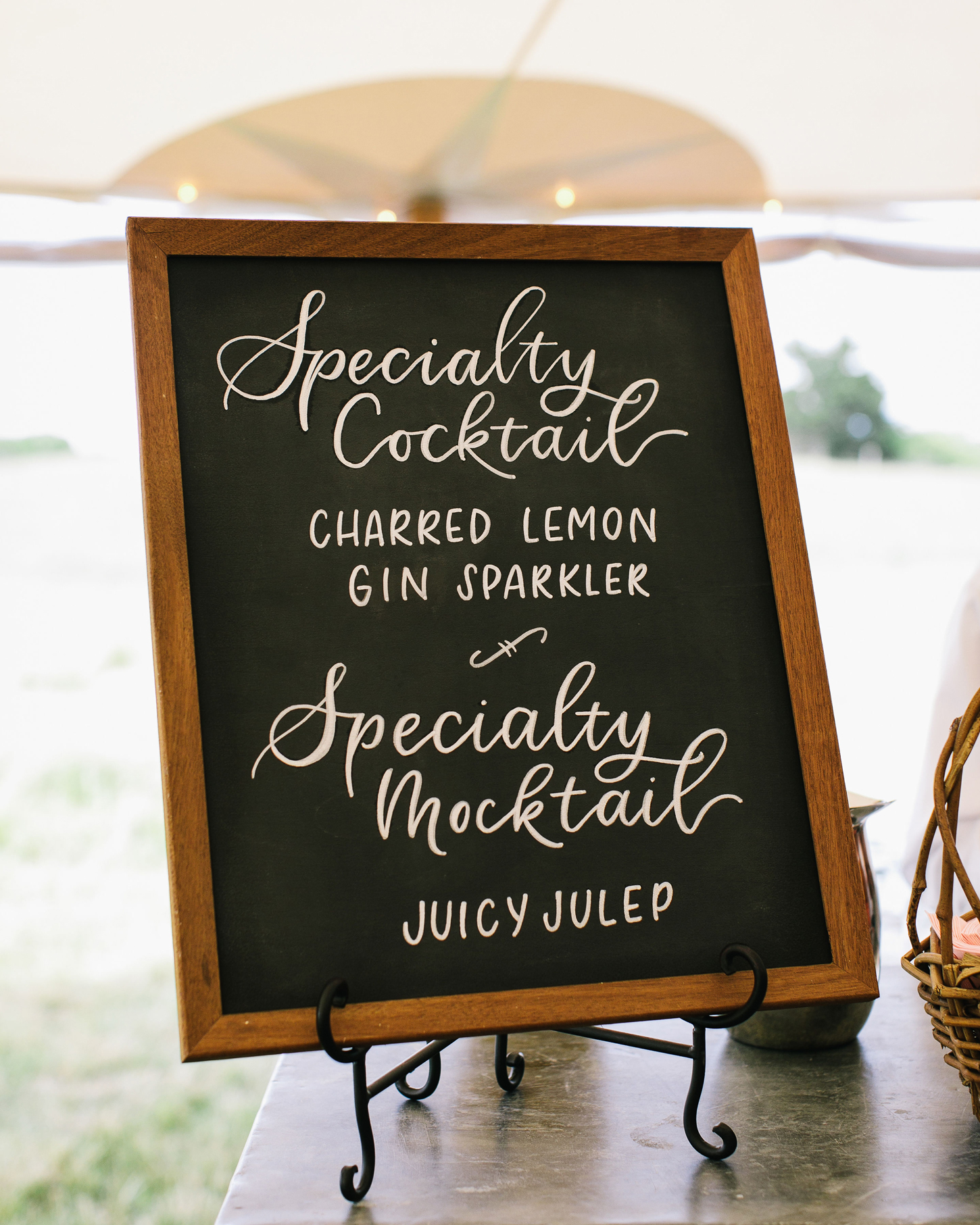specialty cocktail wooden chalkboard sign