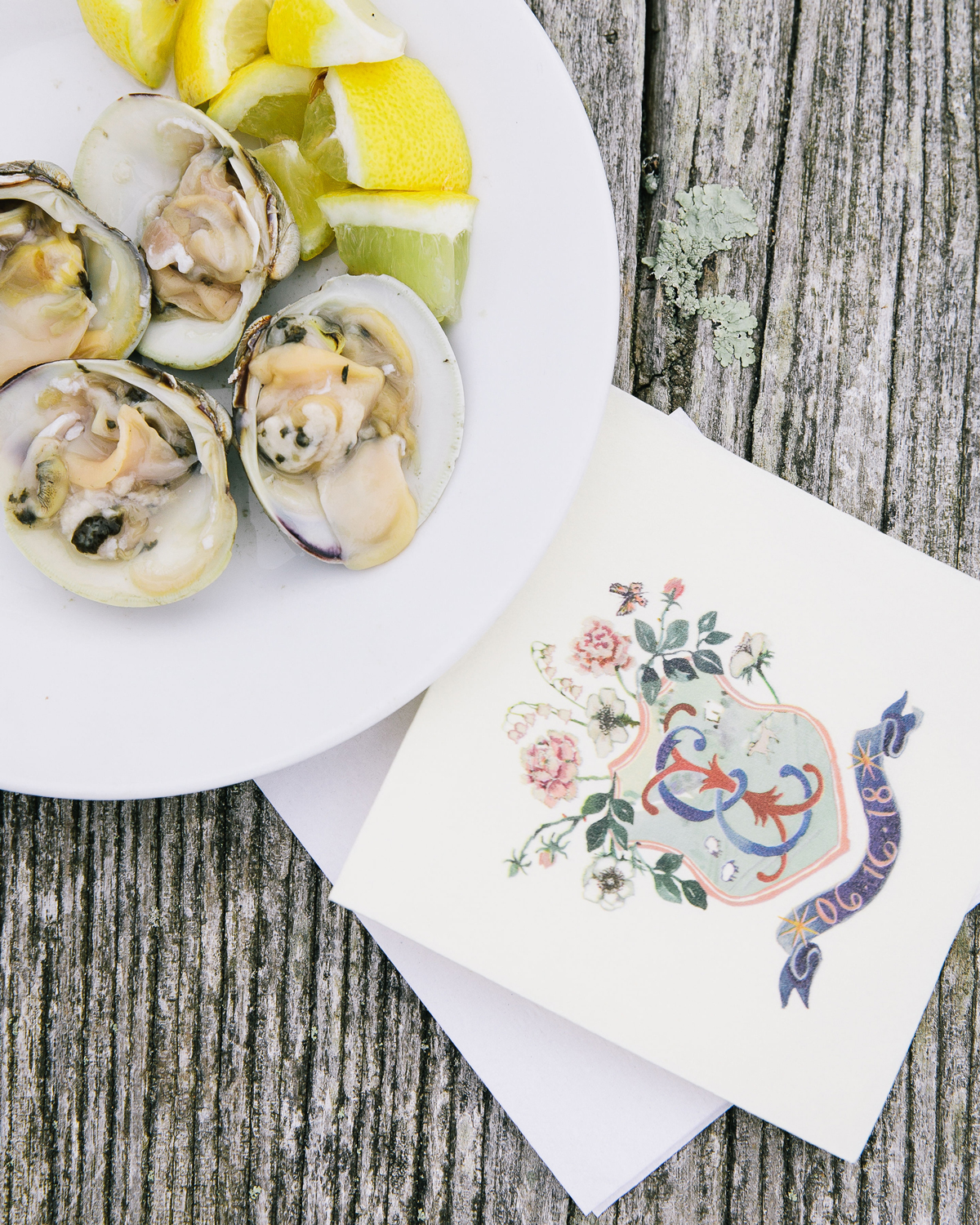 oysters served with custom emblem napkins