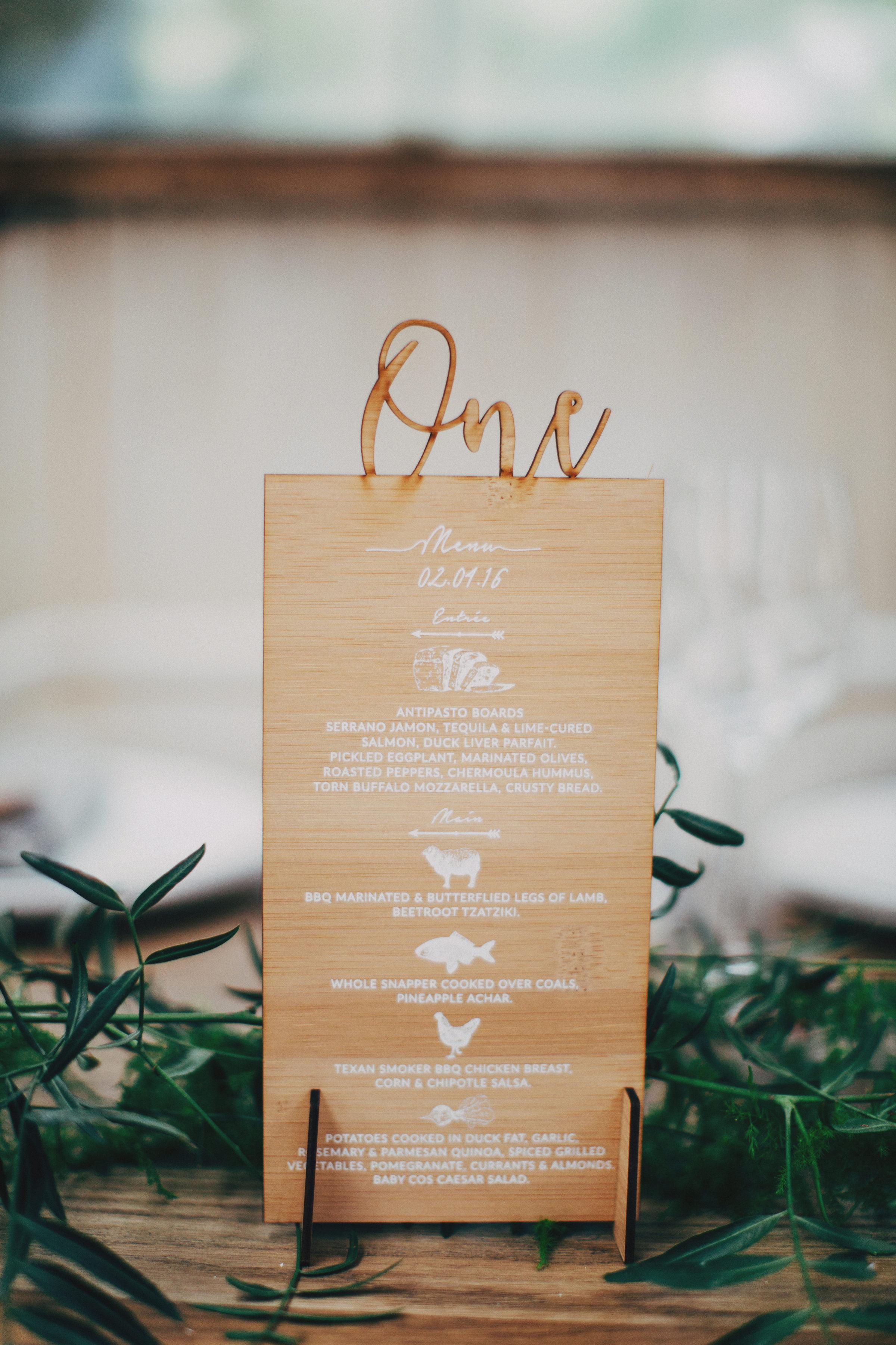 Laser-Cut Wedding Menus