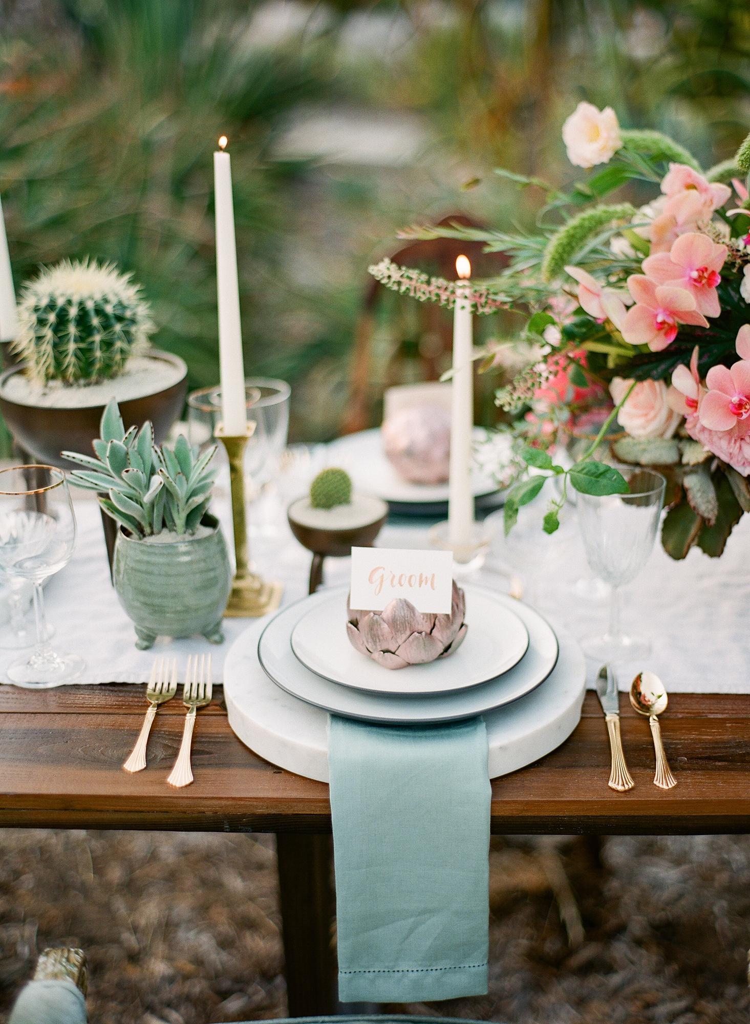 desert inspired wedding artichoke place card