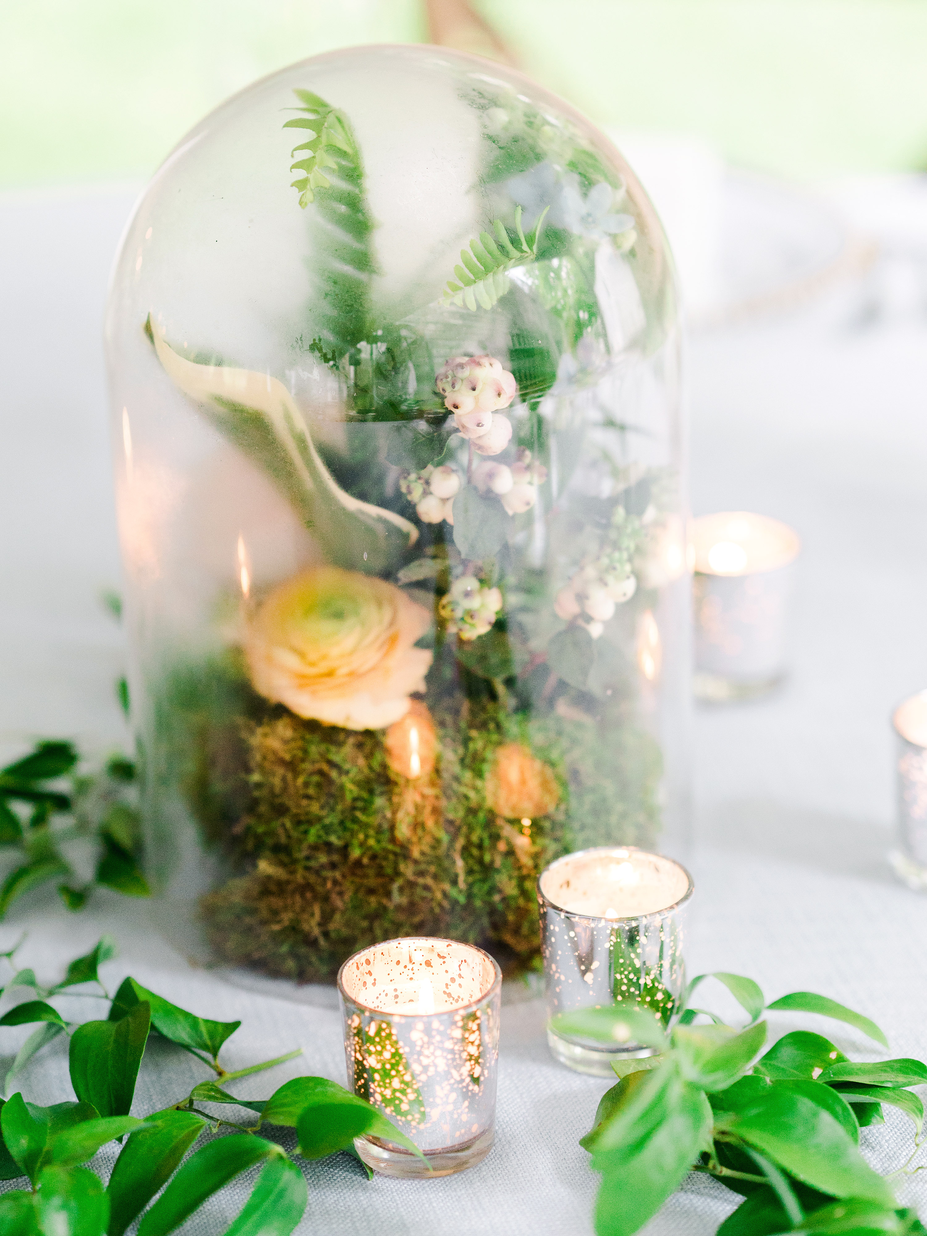 dayane collin wedding cloche centerpiece with candles