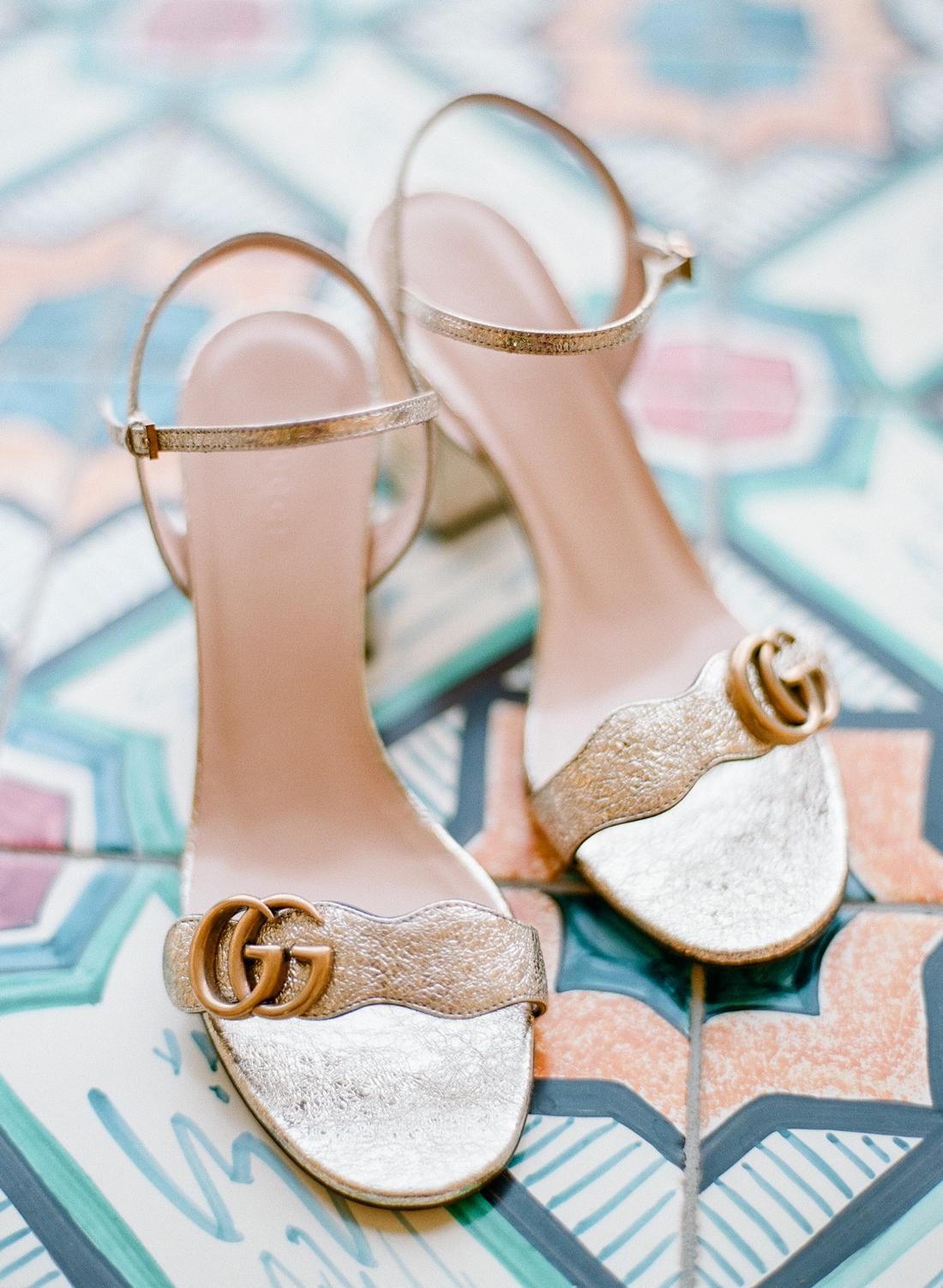 block heel gold gucci heels