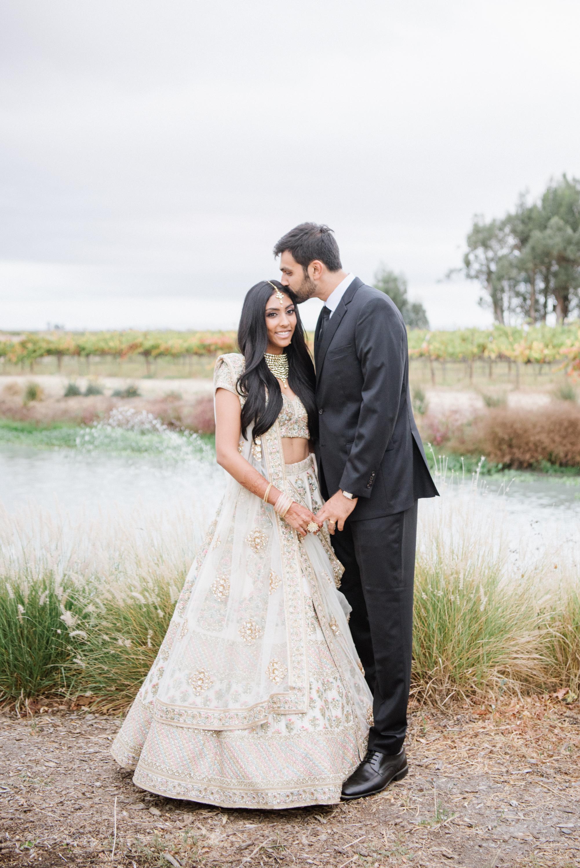 divya tejas wedding couple by lake