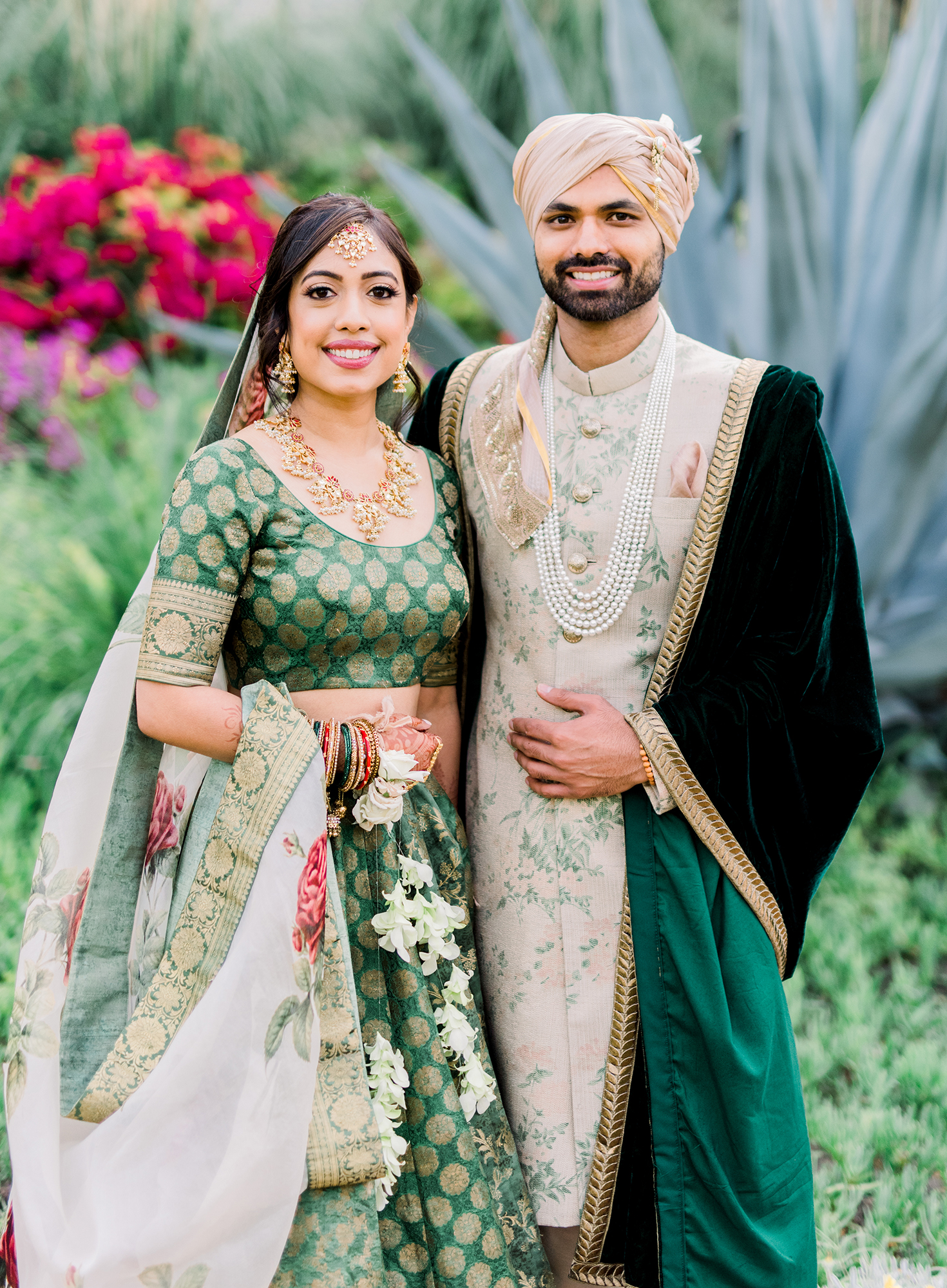payal and vince wedding couple holding hands