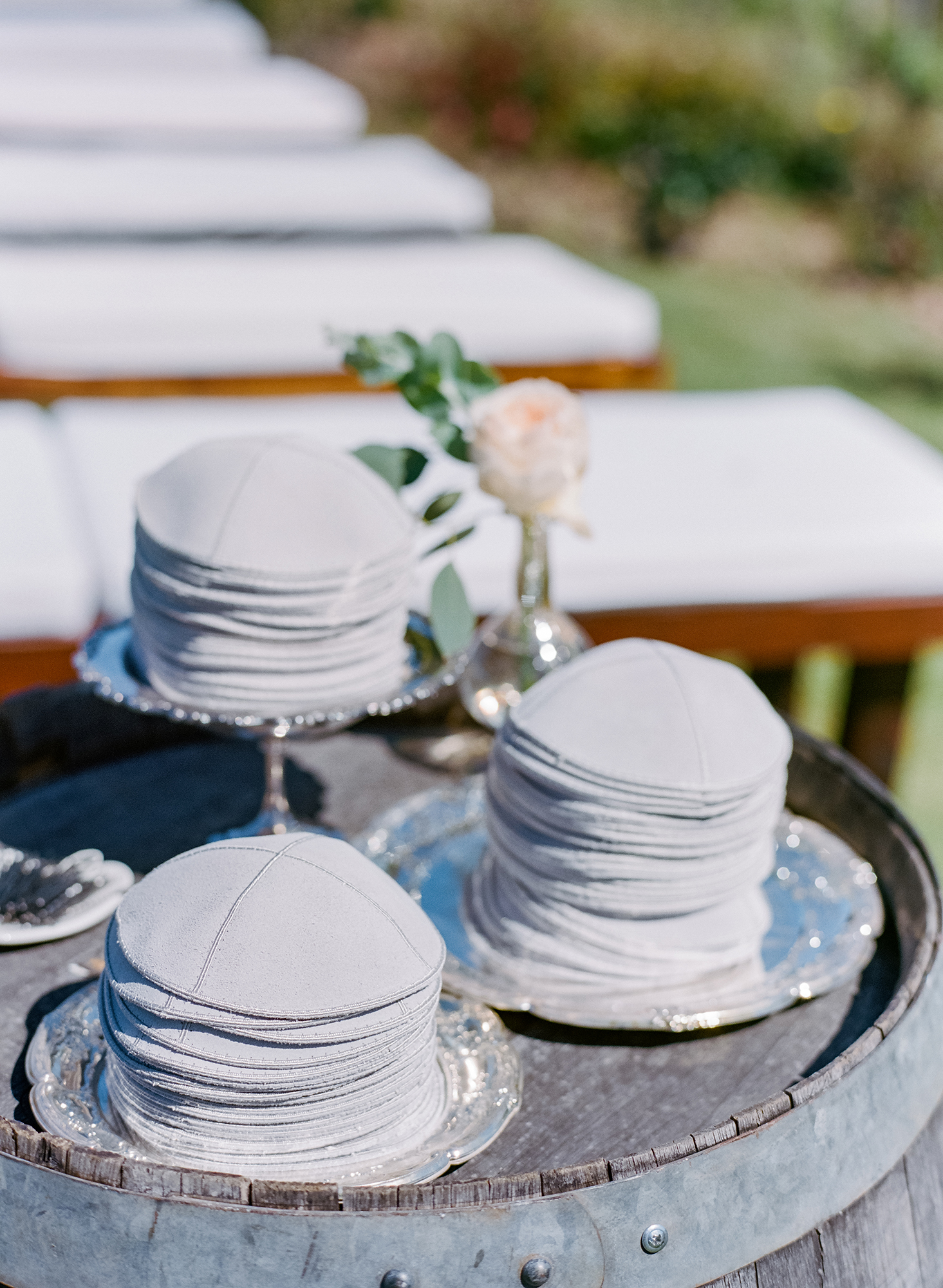 gray wedding yarmulkes