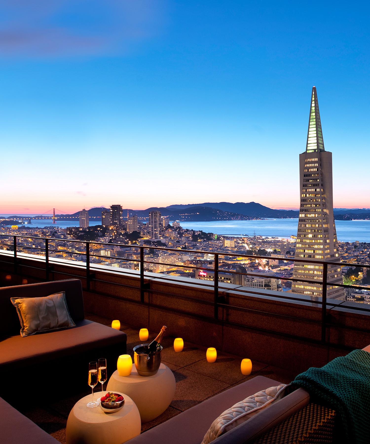 san francisco loews regency hotel patio ocean and city view