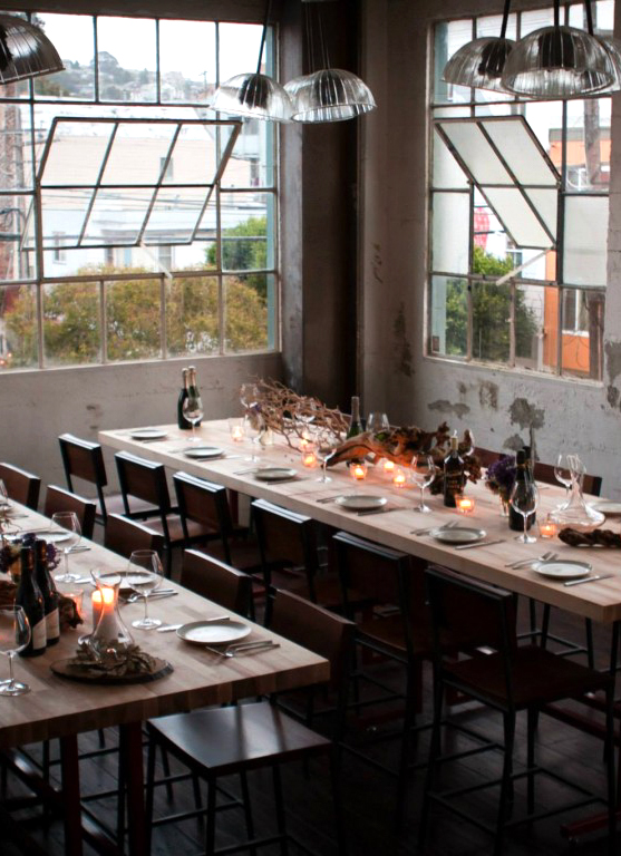 san francisco flour and water restaurant table setting and windows