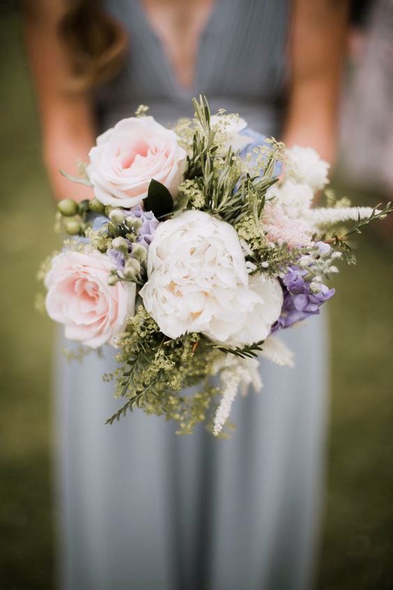 rosemary herb pastel color rose bouquets