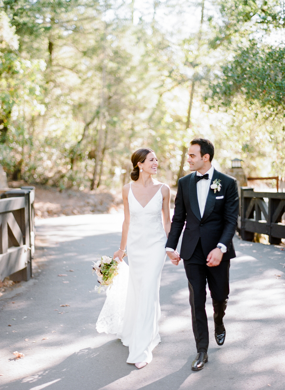 cristina chris wedding couple walking on road