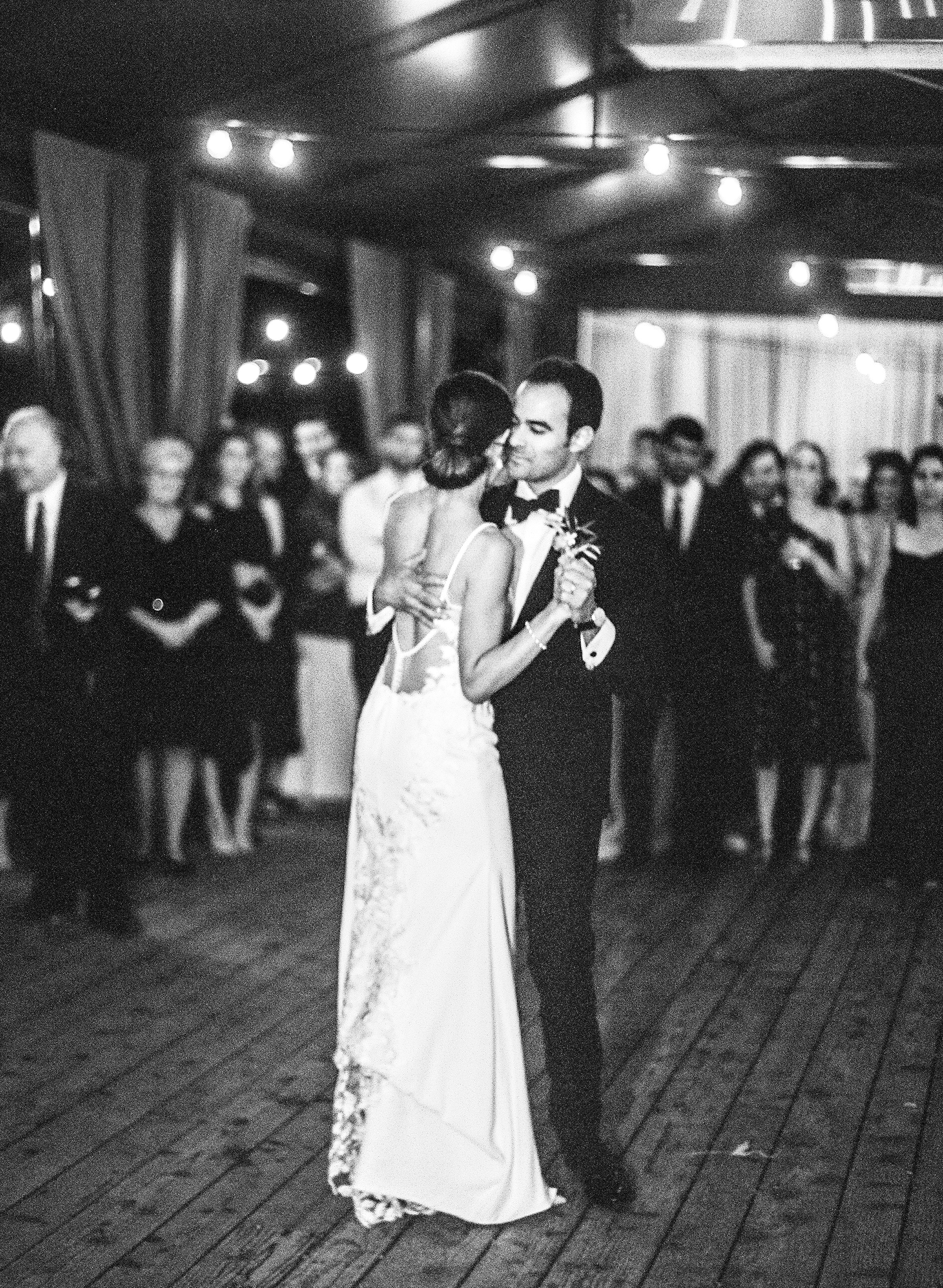 cristina chris wedding couple first dance black and white