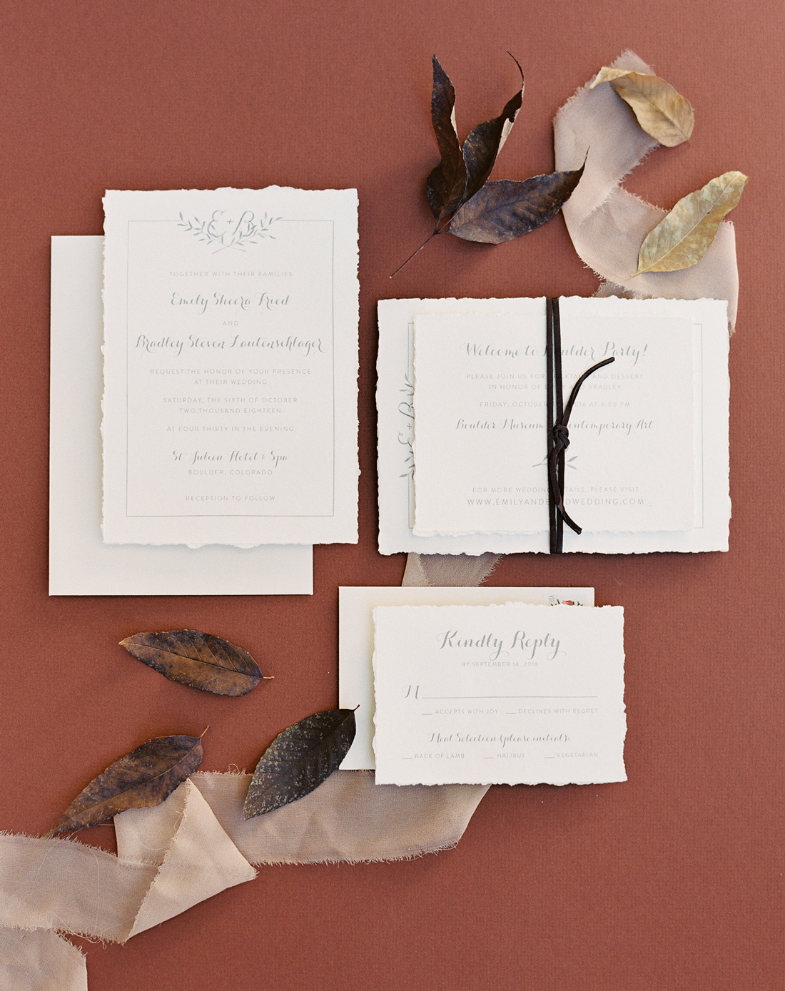 earth tone invitation suit with leather accents