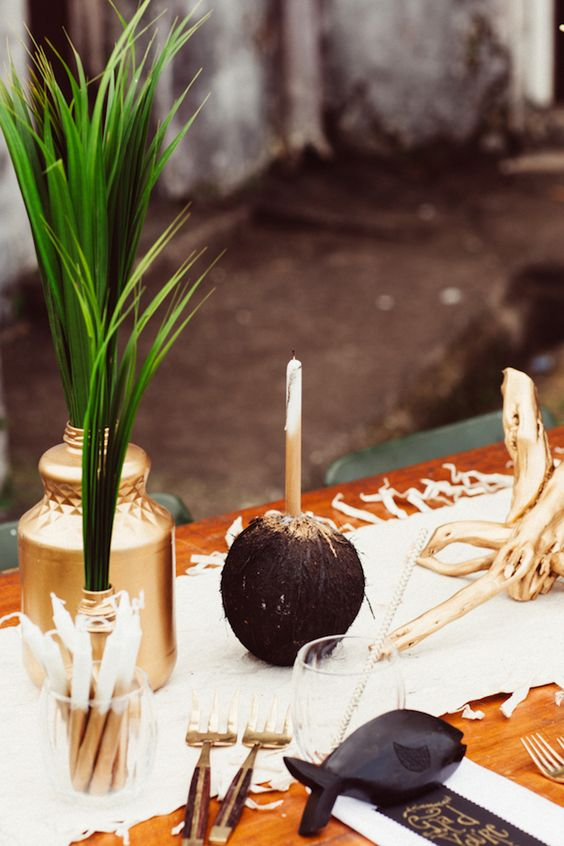 coconut candle holder decor
