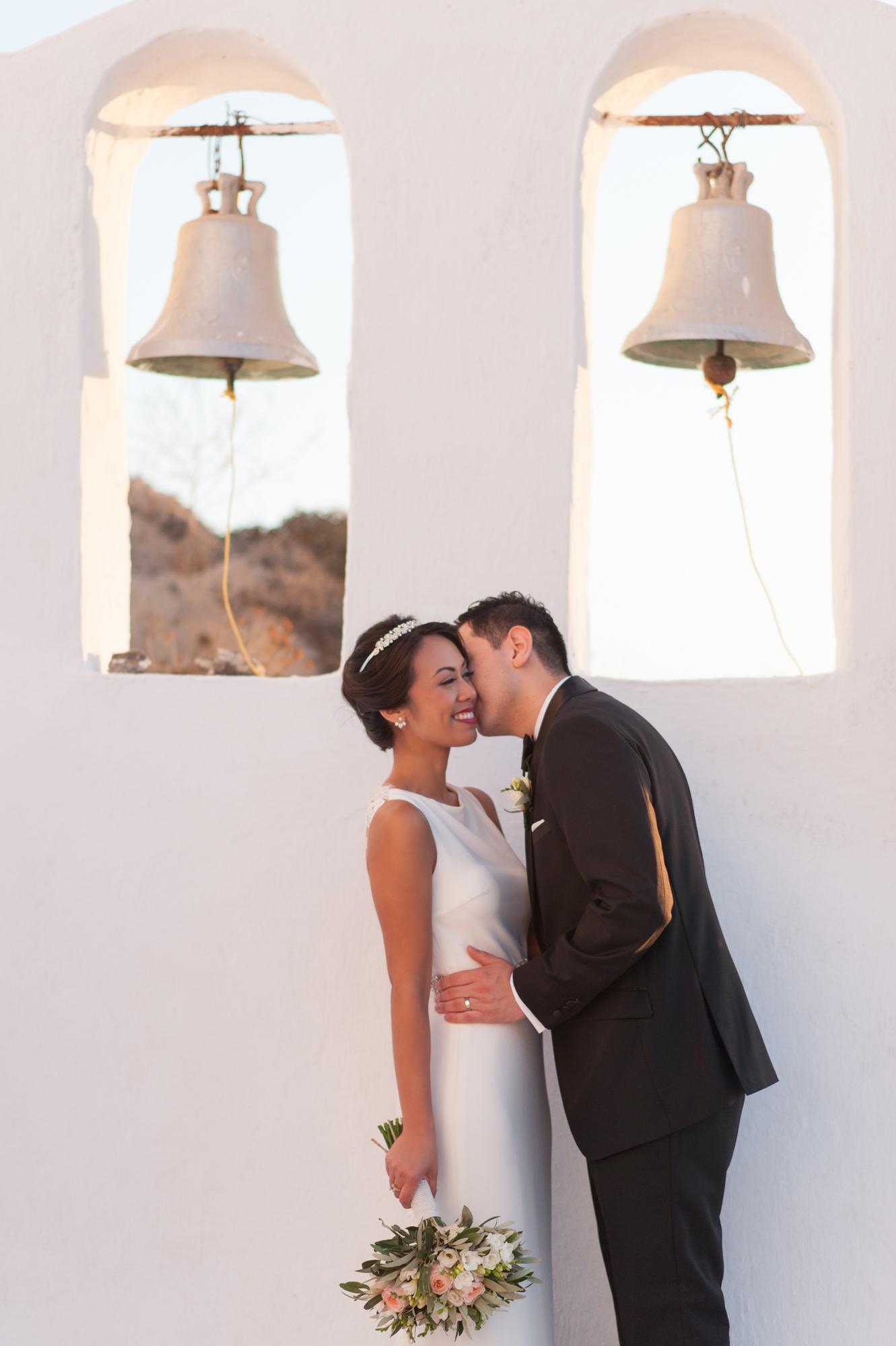 large wedding bell decor at wedding venue